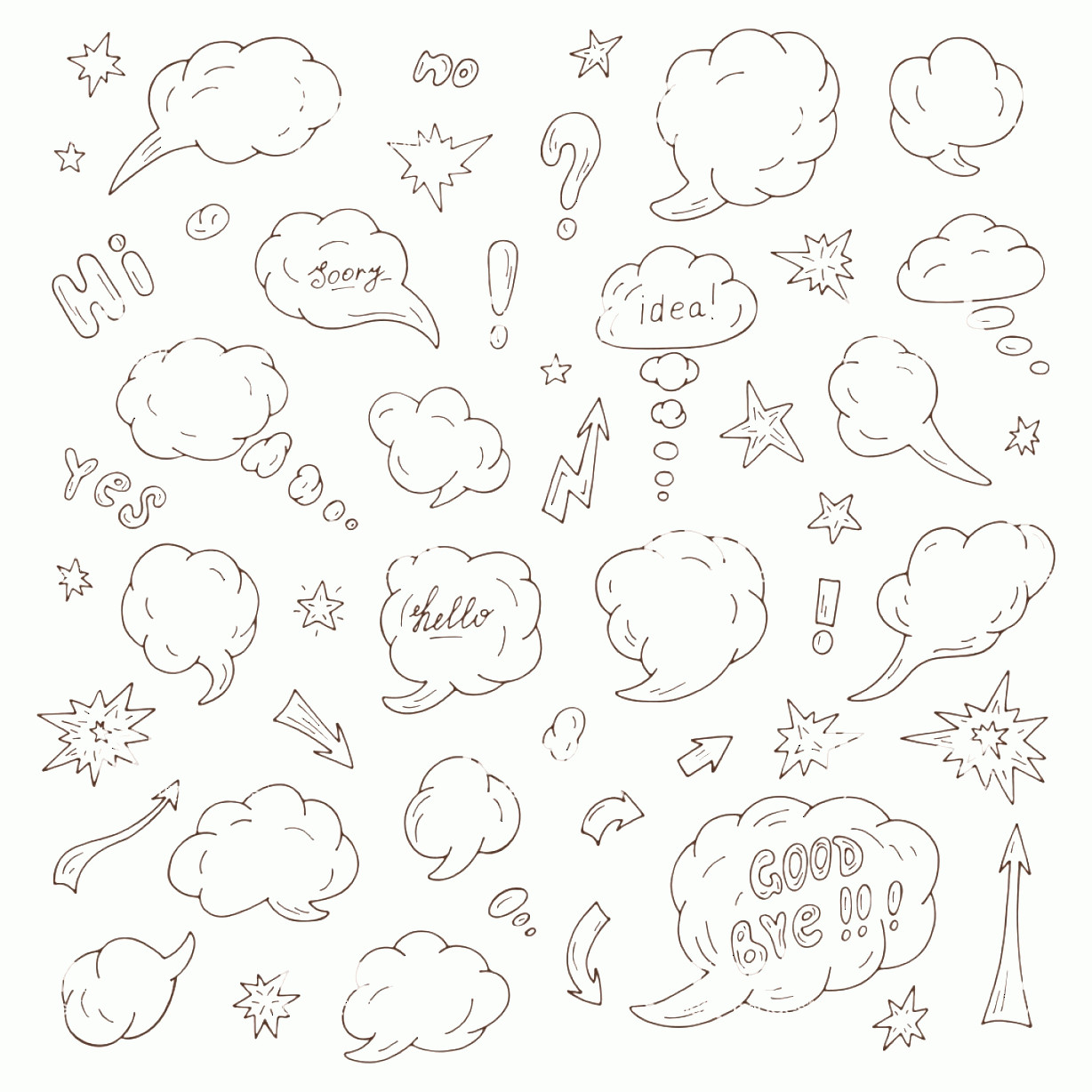 Thought Bubble Vector Sketch: Hand Drawn Doodle Speech And Thought Bubbles Vector Illustration Gm