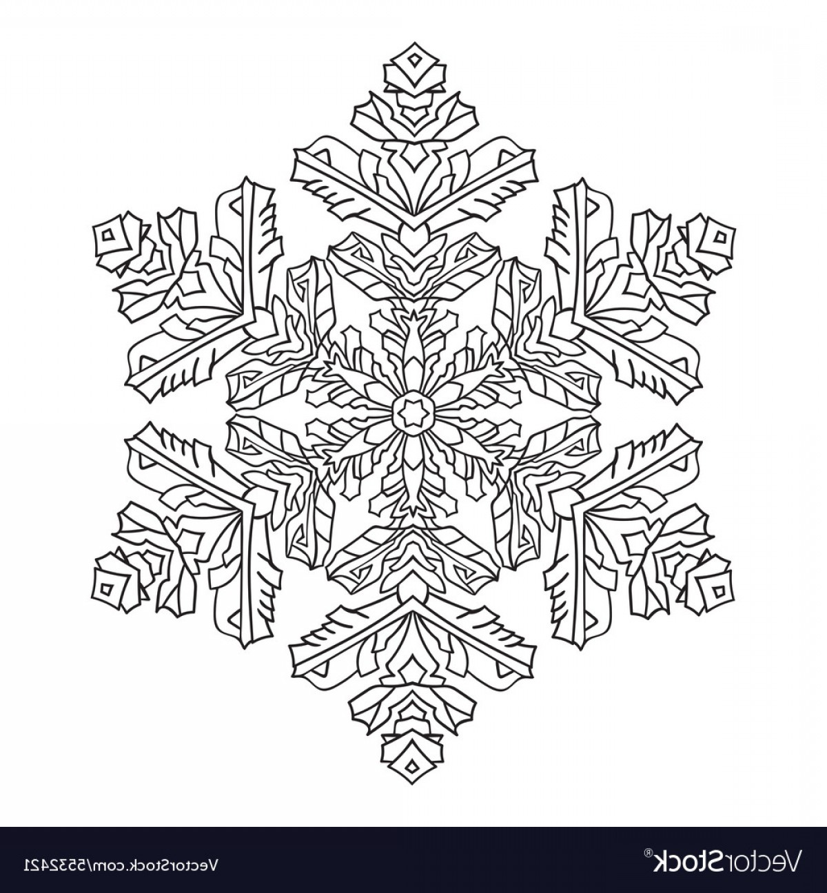 Zentangle Vector: Hand Drawn Doodles Natural Snowflake Zentangle Vector