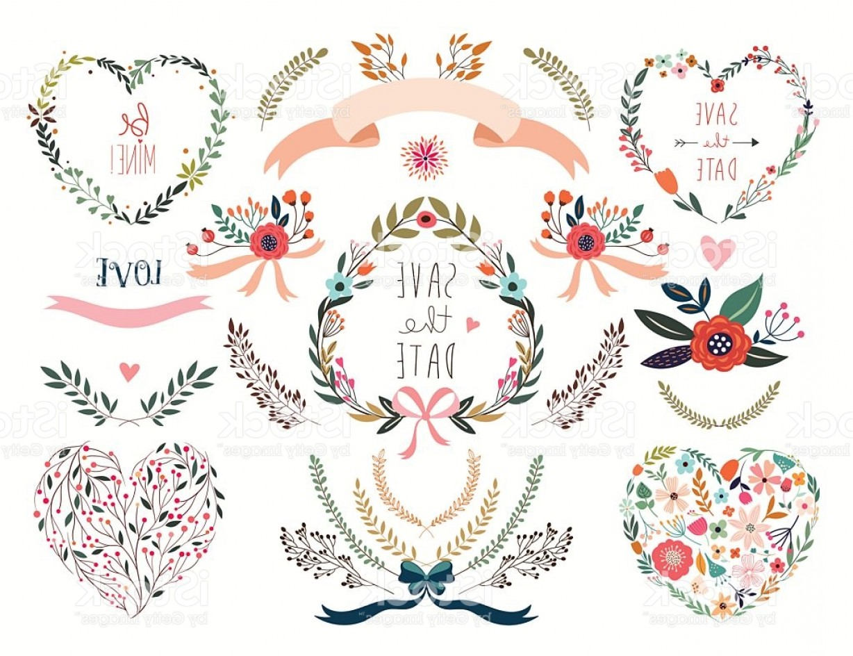 Flower Elements Vector: Hand Drawn Floral Elements Gm