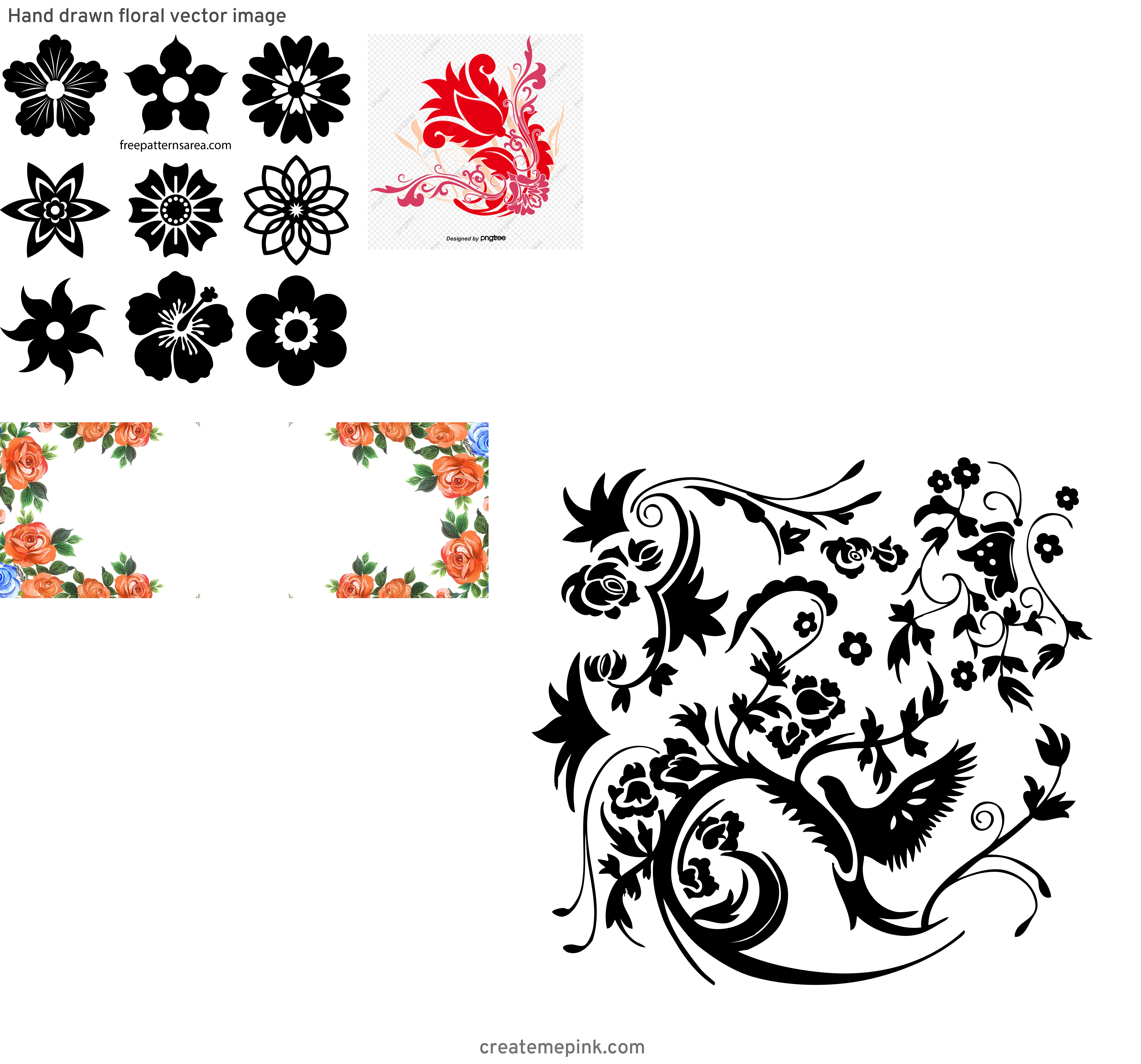 Vector Graphics Floral: Hand Drawn Floral Vector Image
