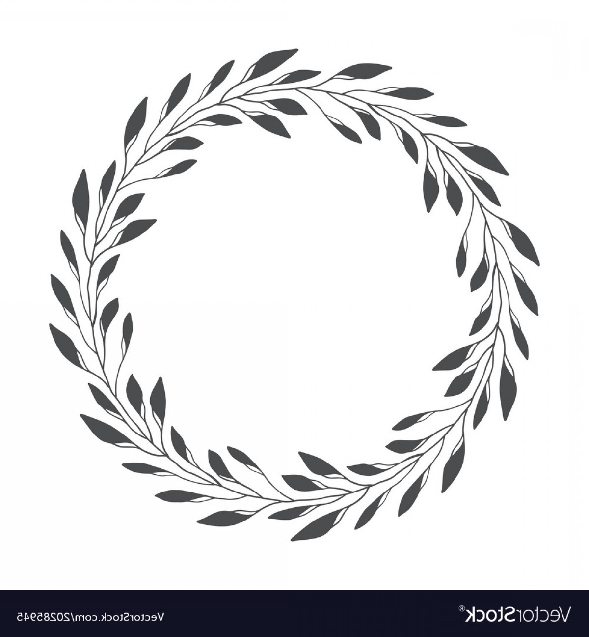 Pine Leaf Vector: Hand Drawn Floral Wreath Round Frame With Leaves Vector