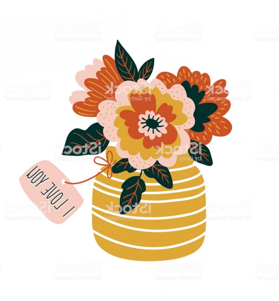 Vector Art Flowers In Vace: Hand Drawn Flowers In The Vase With Tag I Love You Scandinavian Style Vector Gm