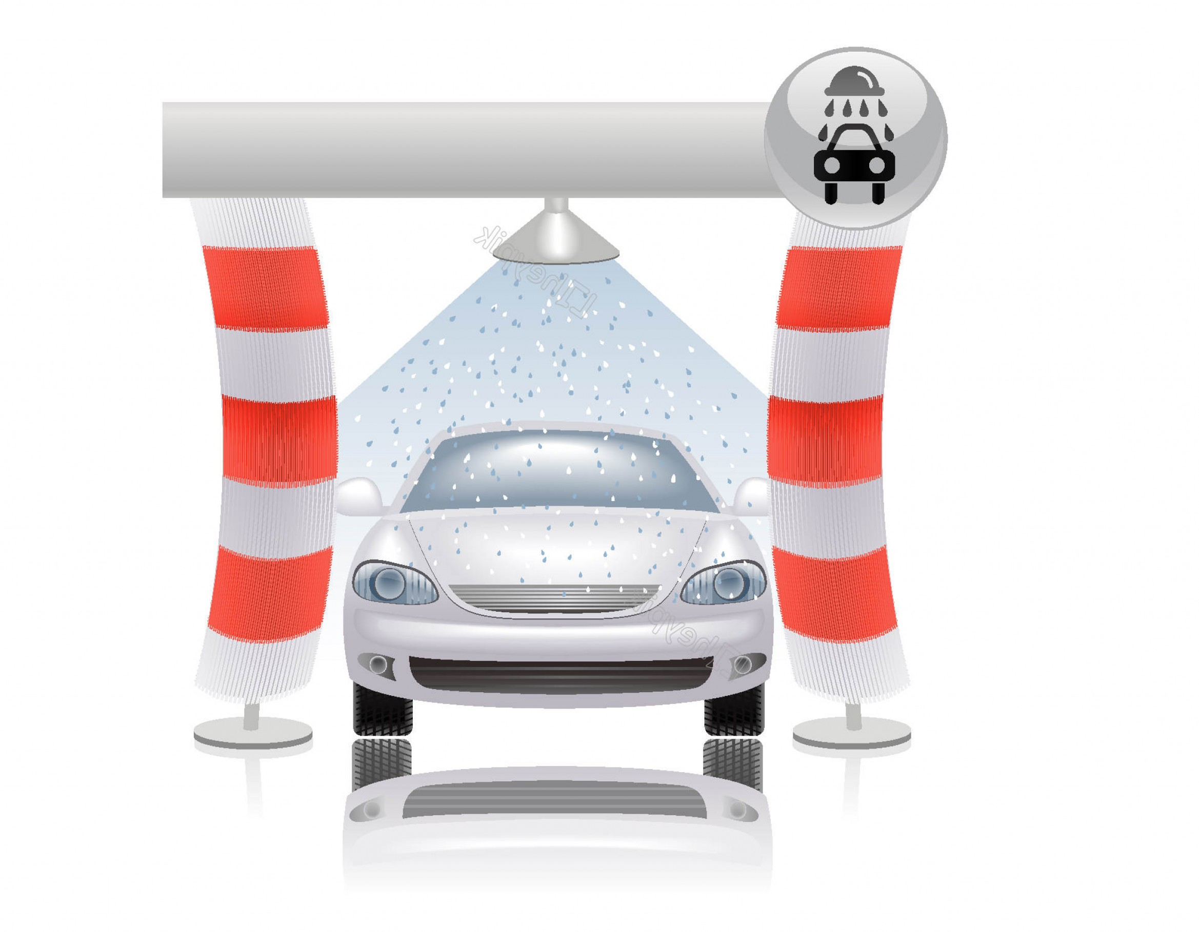 Car Wash Vector Graphics: Hand Drawn Full Brake Car Wash Vector Elements
