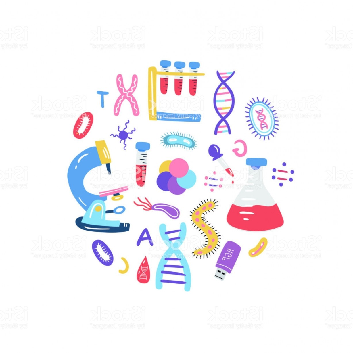 TSS Vector: Hand Drawn Genome Sequencing Concept Human Dna Research Technology Symbols Gm