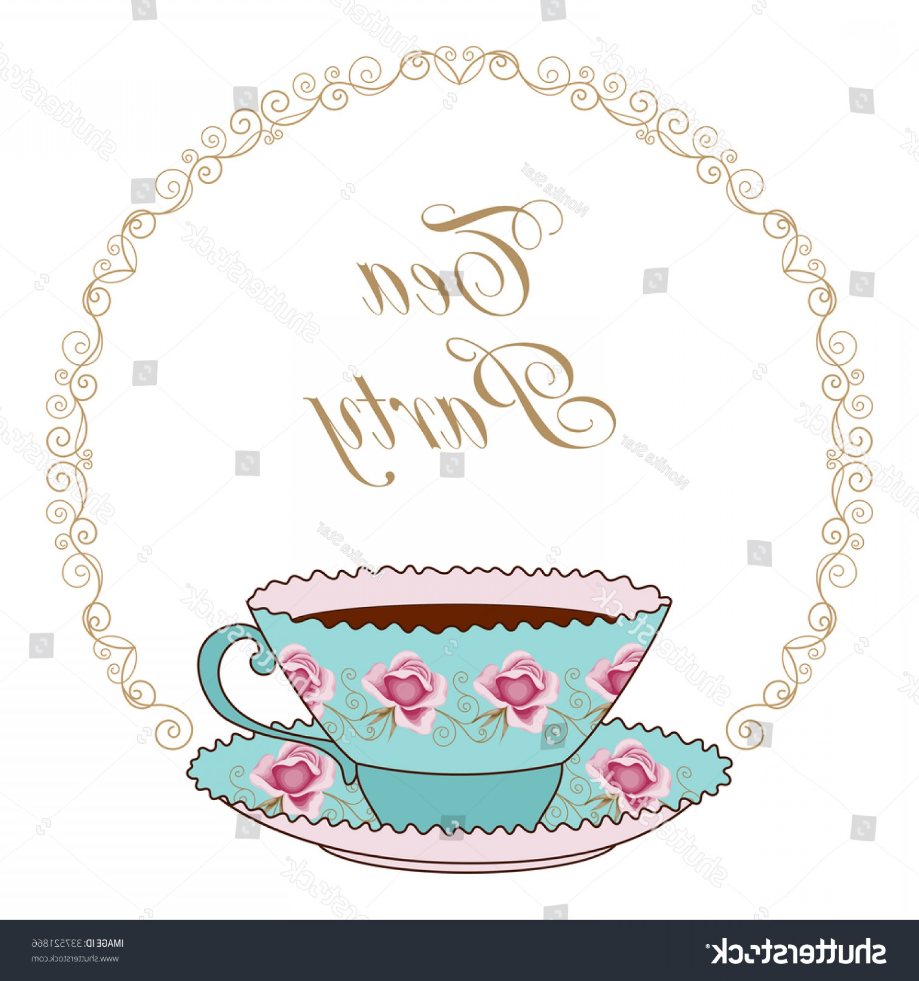 Vintage Tea Cup Vector: Hand Drawn Illustration Vintage Tea Cup