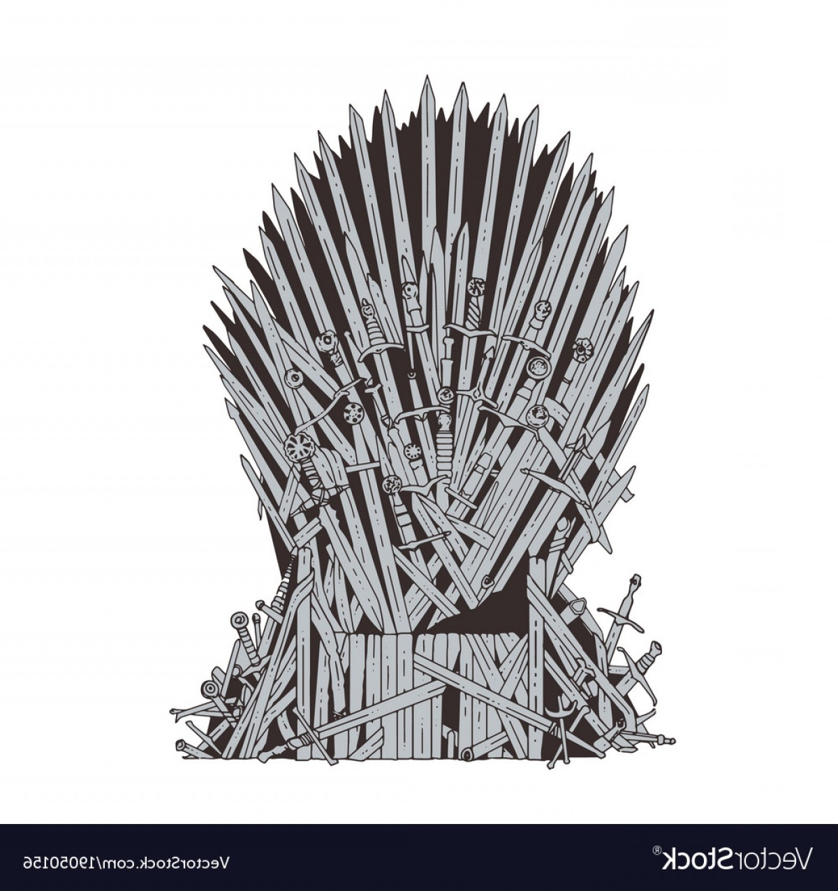 Game Of Thrones Sword Silhouette Vector: Hand Drawn Iron Throne Of Westeros Made Of Antique Vector