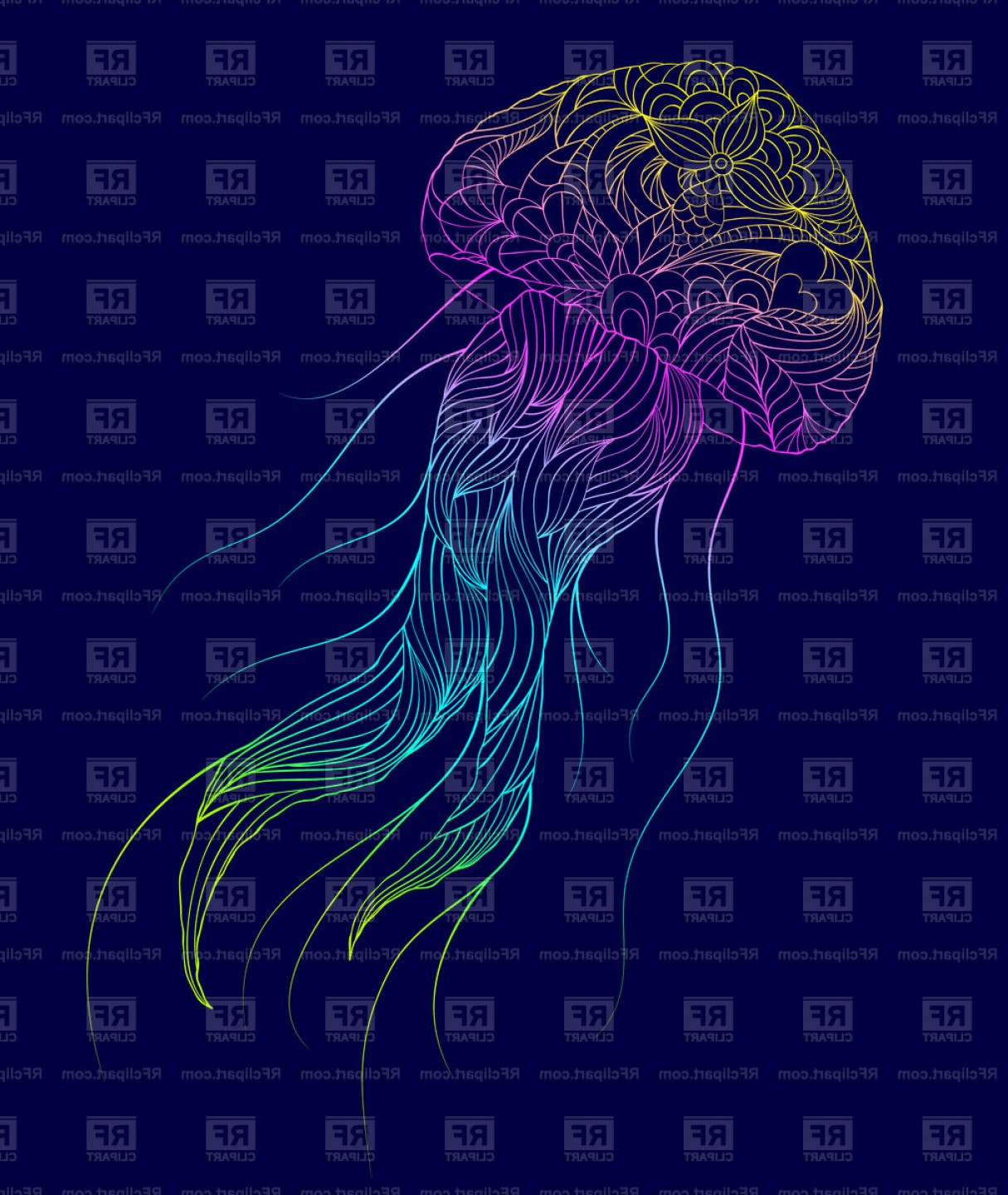 Jelly Fish Graphic Vector: Hand Drawn Jellyfish On Dark Background Vector Clipart