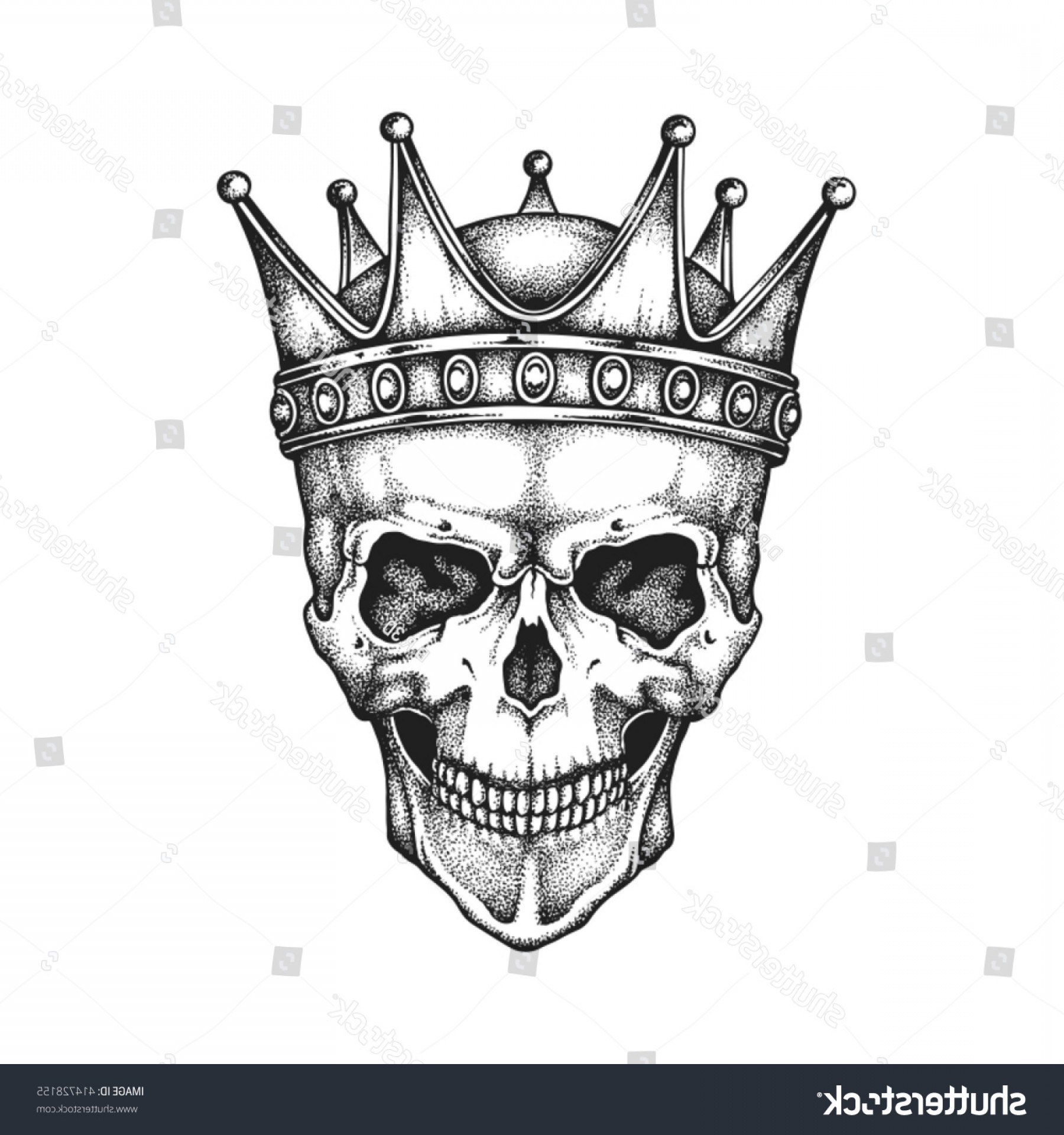 Snake Crown Vector: Hand Drawn King Skull Wearing Crown