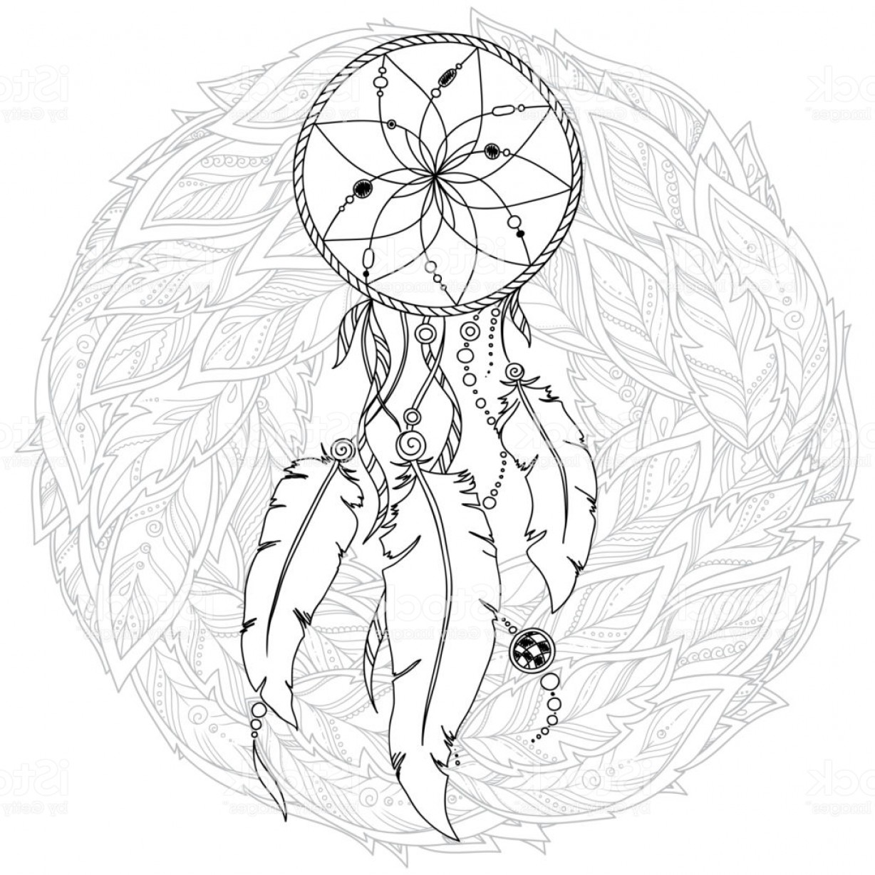 Dreamcatcher Tattoo Vector: Hand Drawn Monochrome Dreamcatcher Isolated On White Background Gm