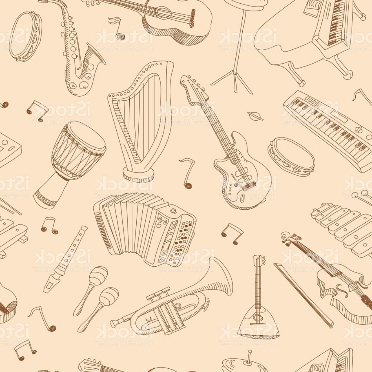 Vector Bass Drum Pedal: Hand Drawn Music Seamless Background Pattern Gm