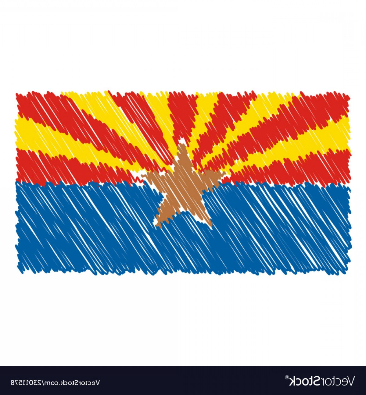 Arizona Flag Vector: Hand Drawn National Flag Of Arizona Isolated On A Vector