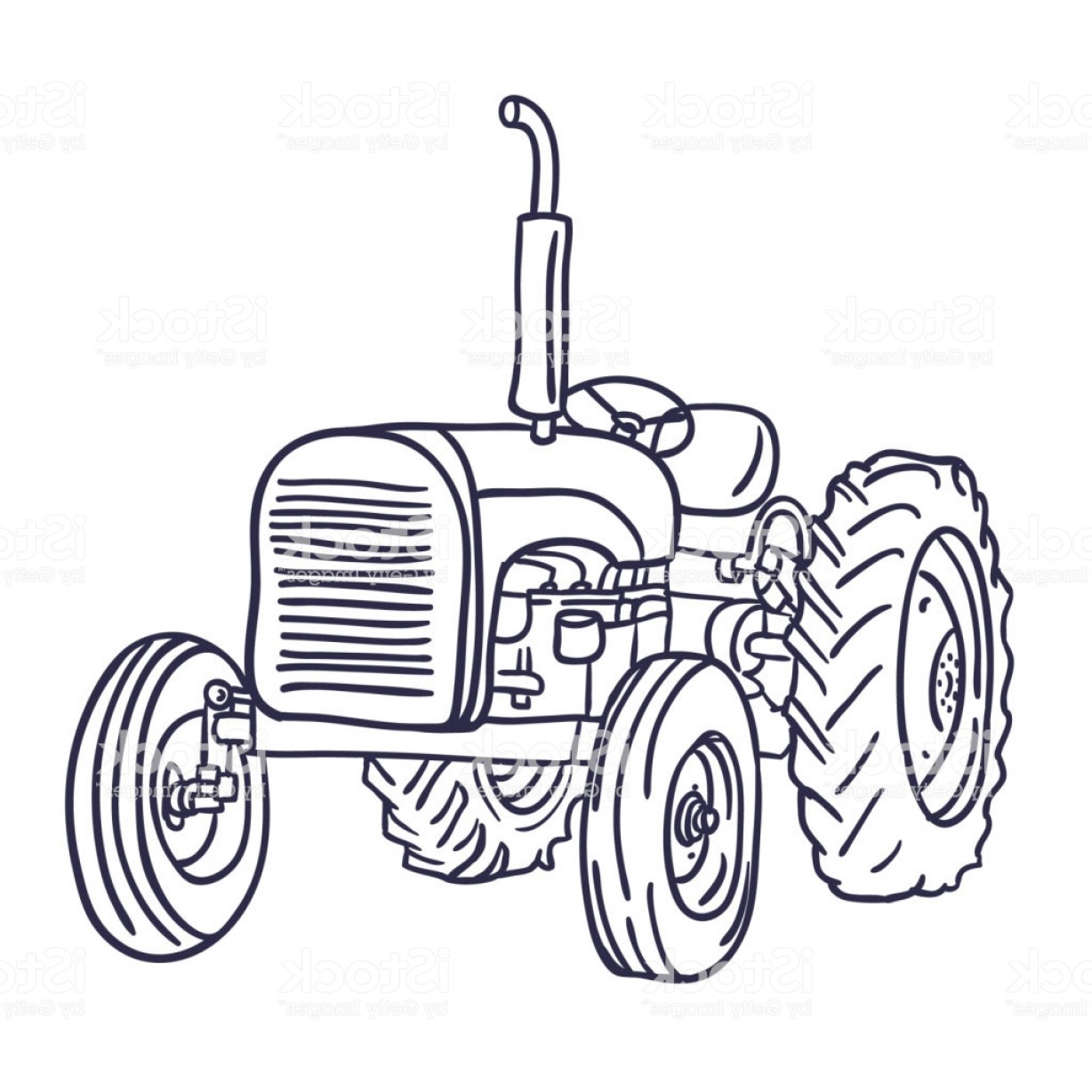 Vintage Tractor Vector Art: Hand Drawn Old Vintage Tractor On White Vector Gm
