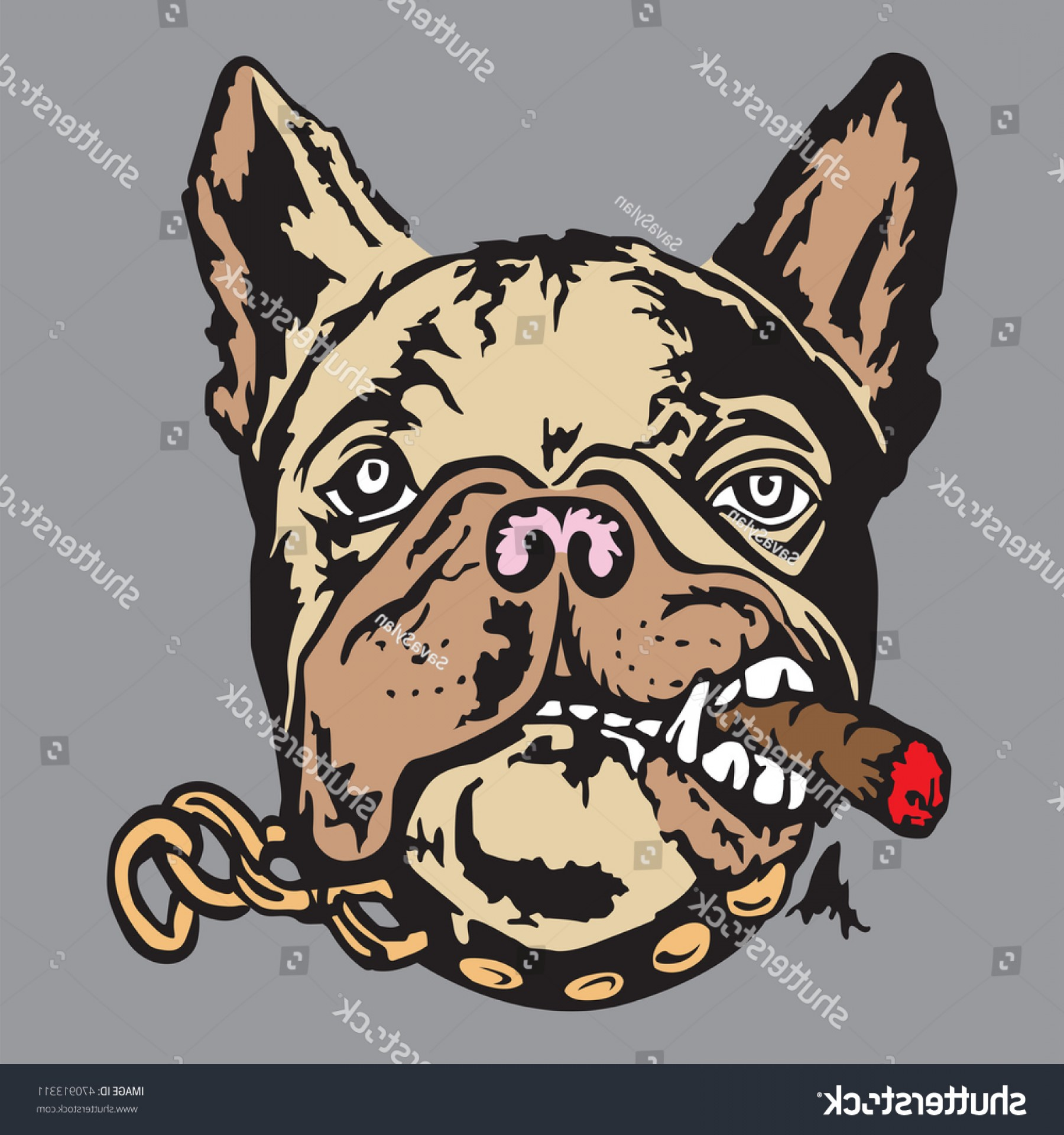 Marine Bulldog Logo In Vector: Hand Drawn Portrait French Bulldog Vector