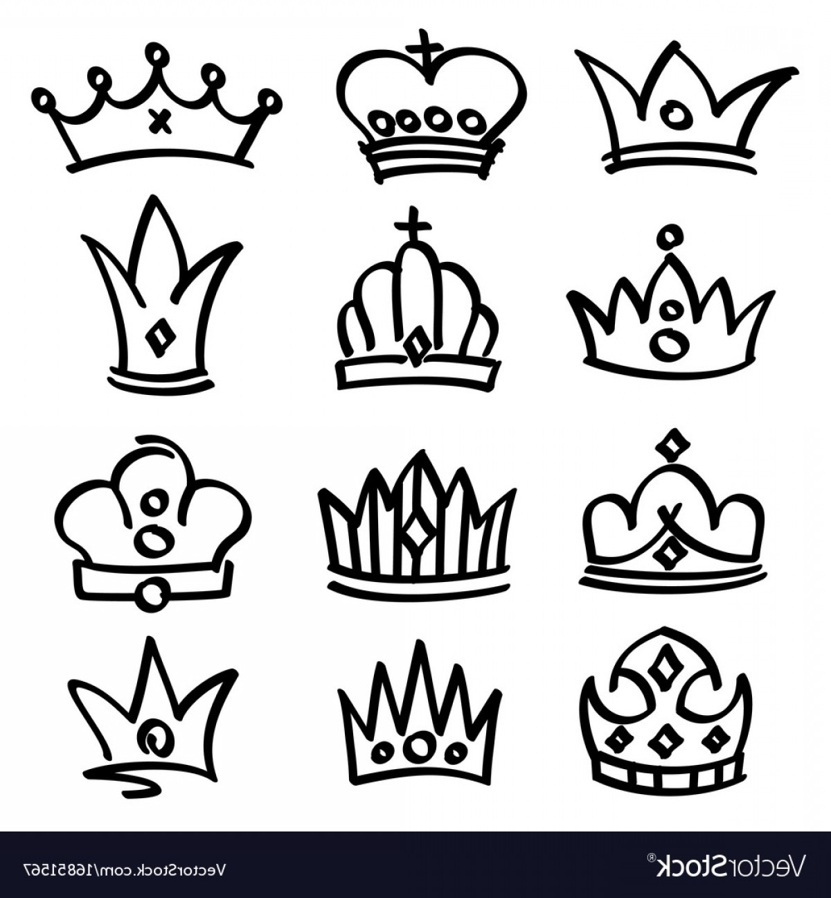 Princess Crown Vector Graphic: Hand Drawn Princess Crowns Sketch Doodle Vector