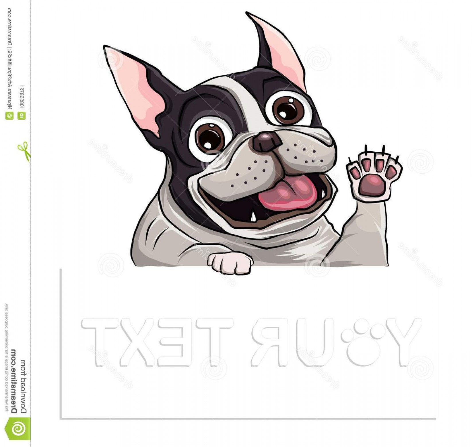 Vector Smiling Bulldog: Hand Drawn Puppy French Bulldog Place Text Vector Cartoon Happy French Bulldog Smile Space Text Hand Drawn Puppy Image
