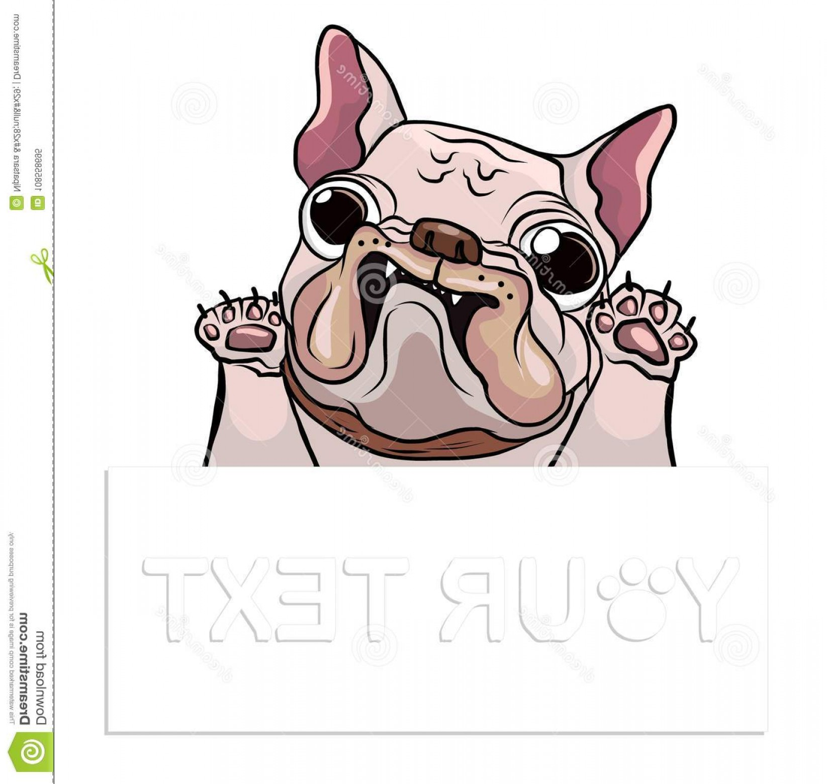 Vector Smiling Bulldog: Hand Drawn Puppy French Bulldog Place Text Vector Cartoon Happy Smile Space Dog Logo Image