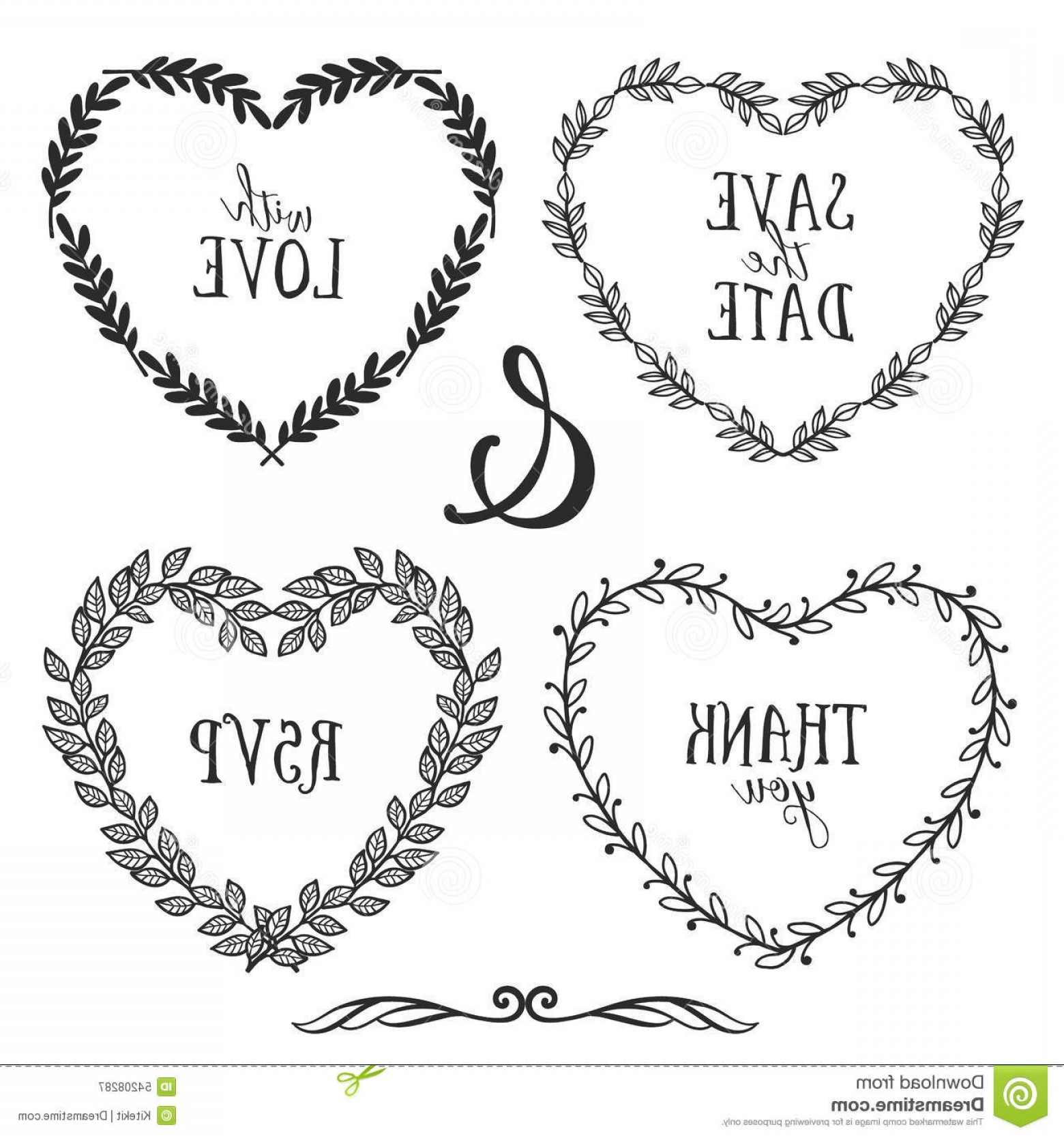 Rustic Heart Vectors: Hand Drawn Rustic Vintage Heart Wreaths With Lettering Illustration