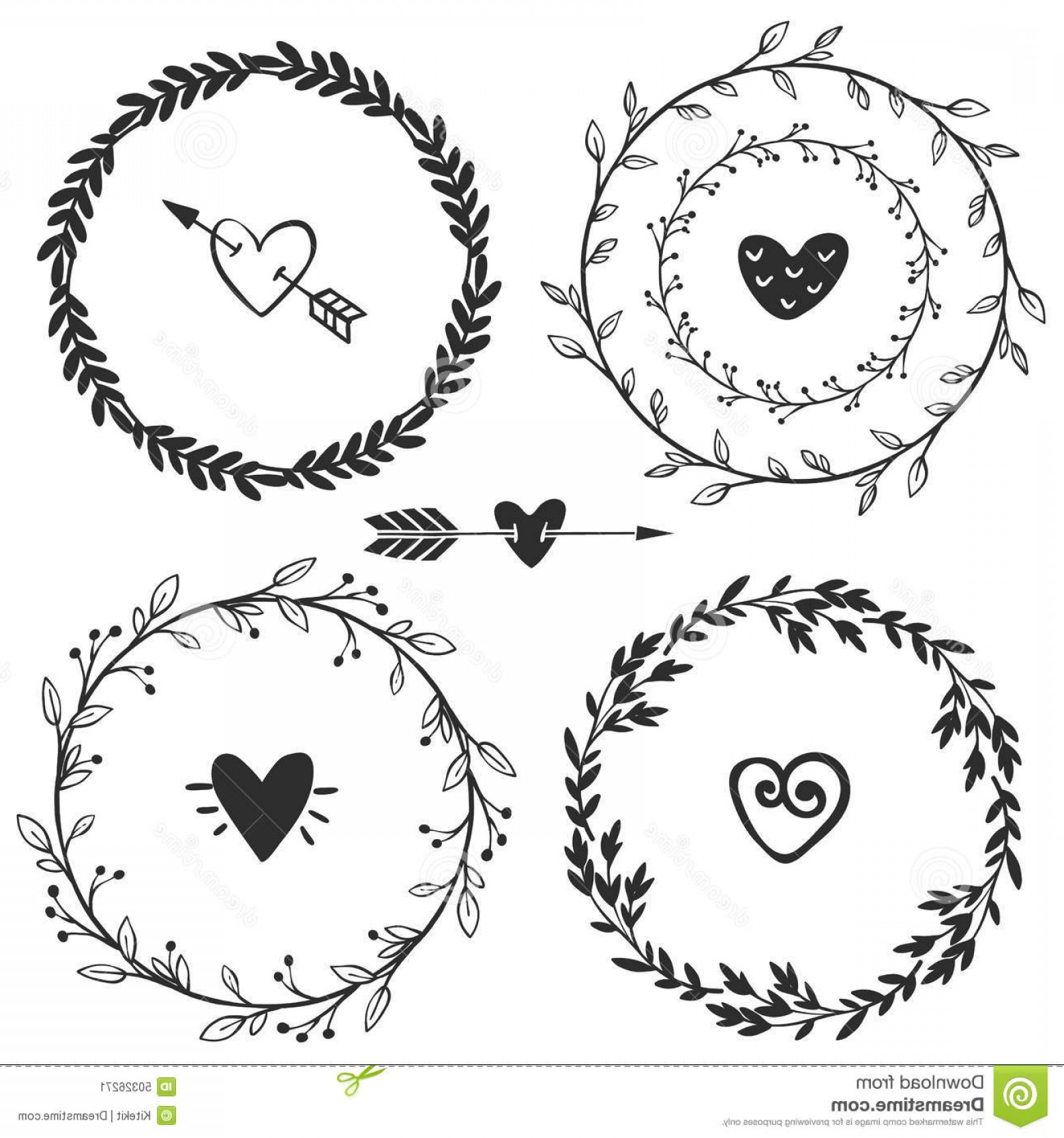 Rustic Heart Vectors: Hand Drawn Rustic Vintage Wreaths With Hearts Floral Vector Illustration