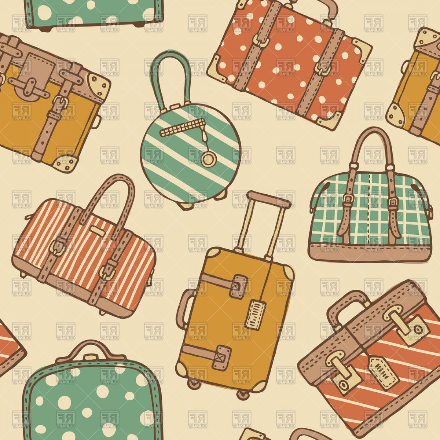 Vintage Luggage Vector: Hand Drawn Seamless Pattern Of Vintage Travel Suitcases And Bags Vector Clipart