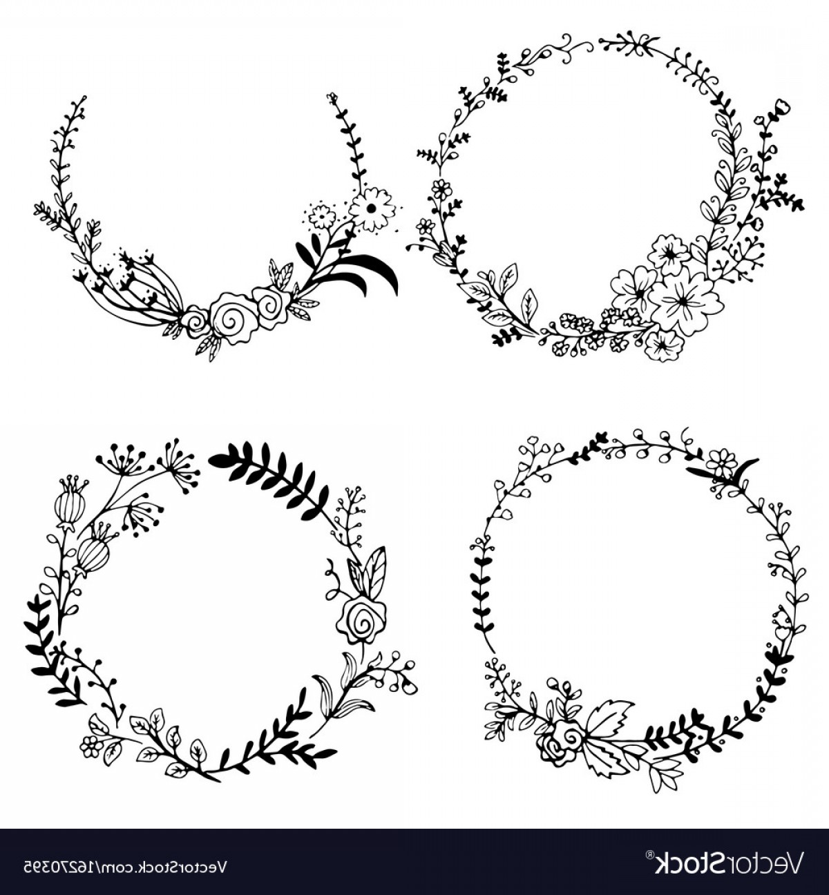 Vector Flower Wreaths In Black: Hand Drawn Set Of Floral Wreaths Vector