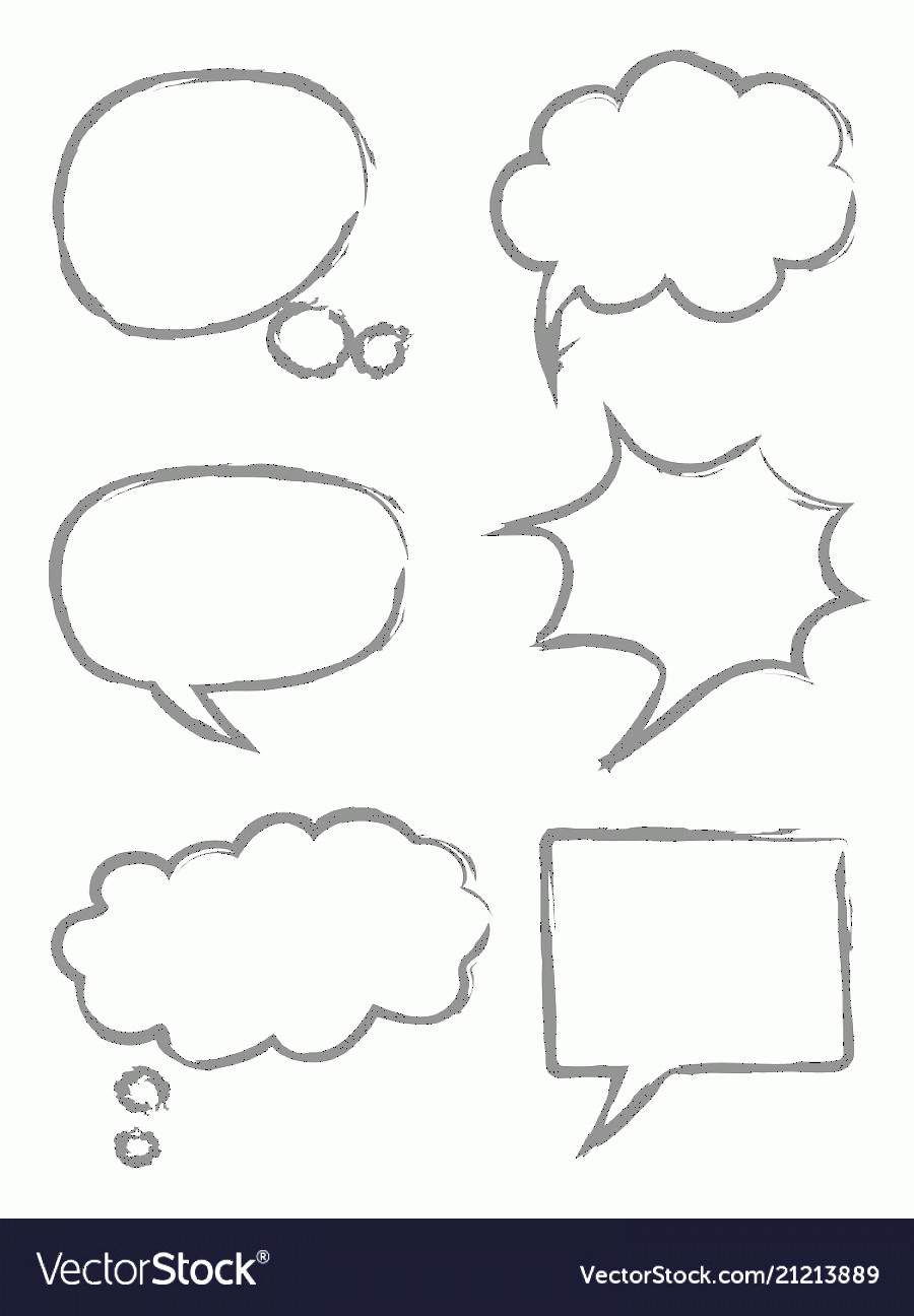 Thought Bubble Vector Sketch: Hand Drawn Sketch Speech Bubbles Vector