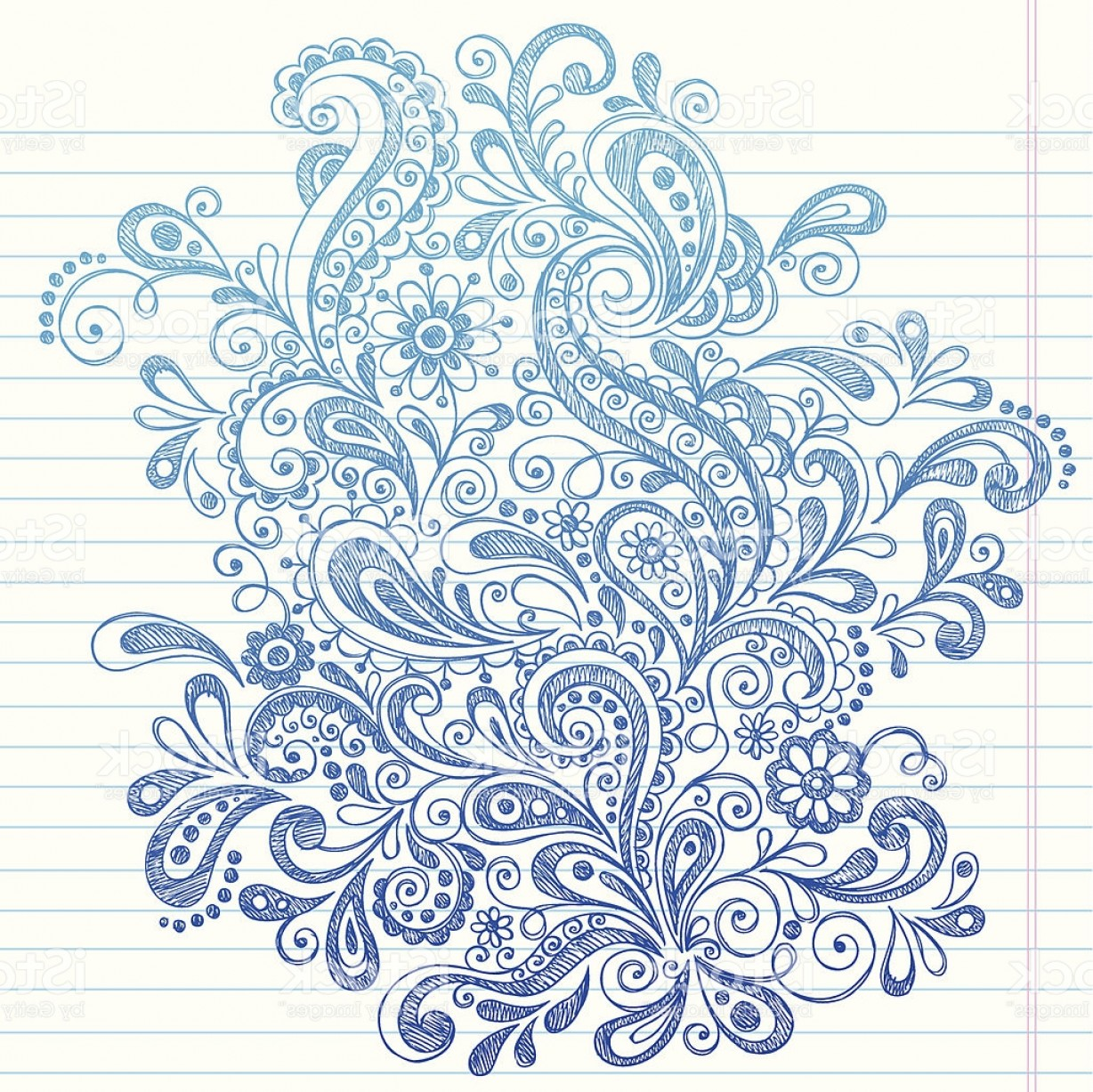 Paisley Swirl Flower Vector: Hand Drawn Sketchy Paisley And Swirls Doodle Gm