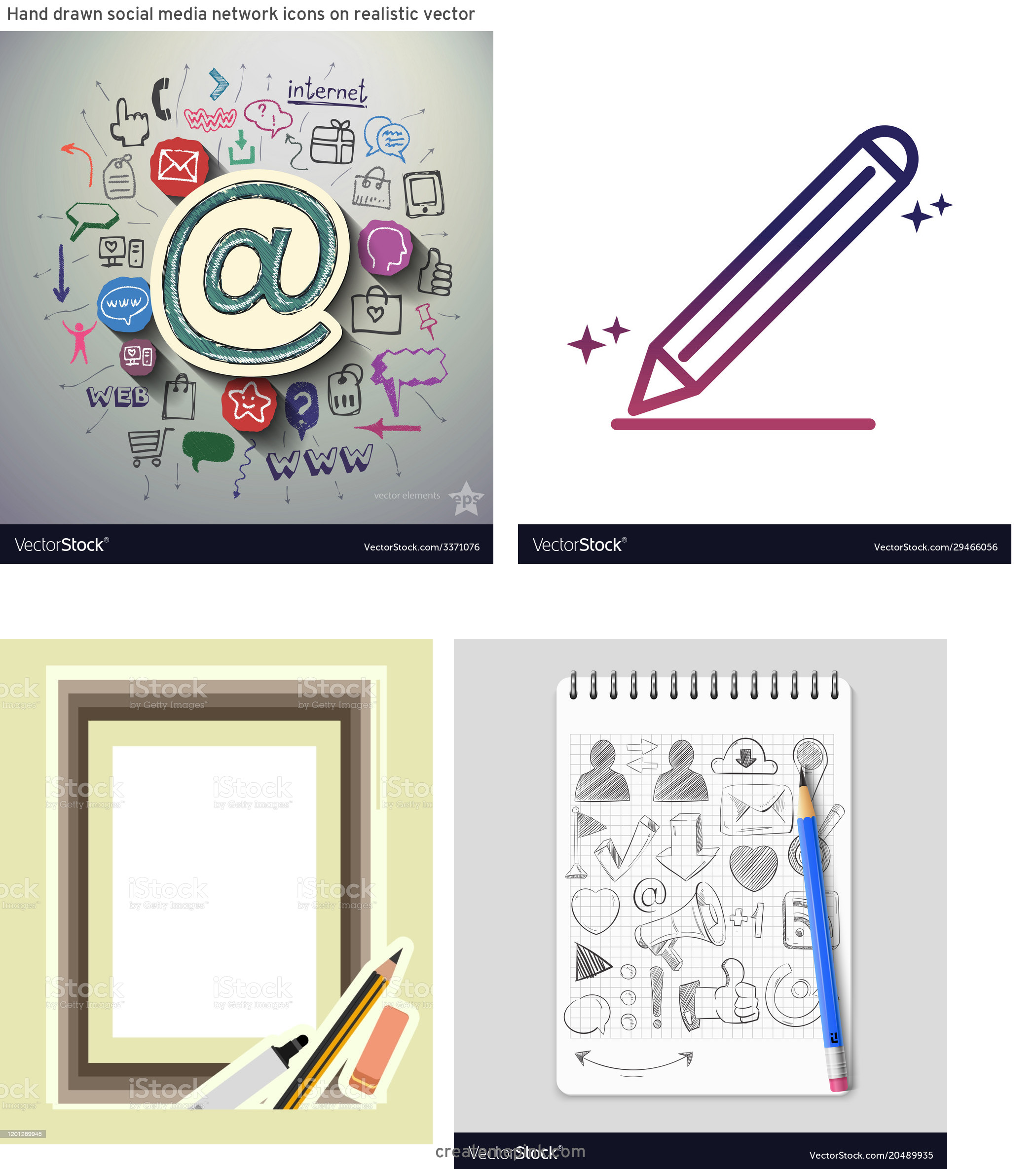 Pencil Icon Vectors Social Media: Hand Drawn Social Media Network Icons On Realistic Vector