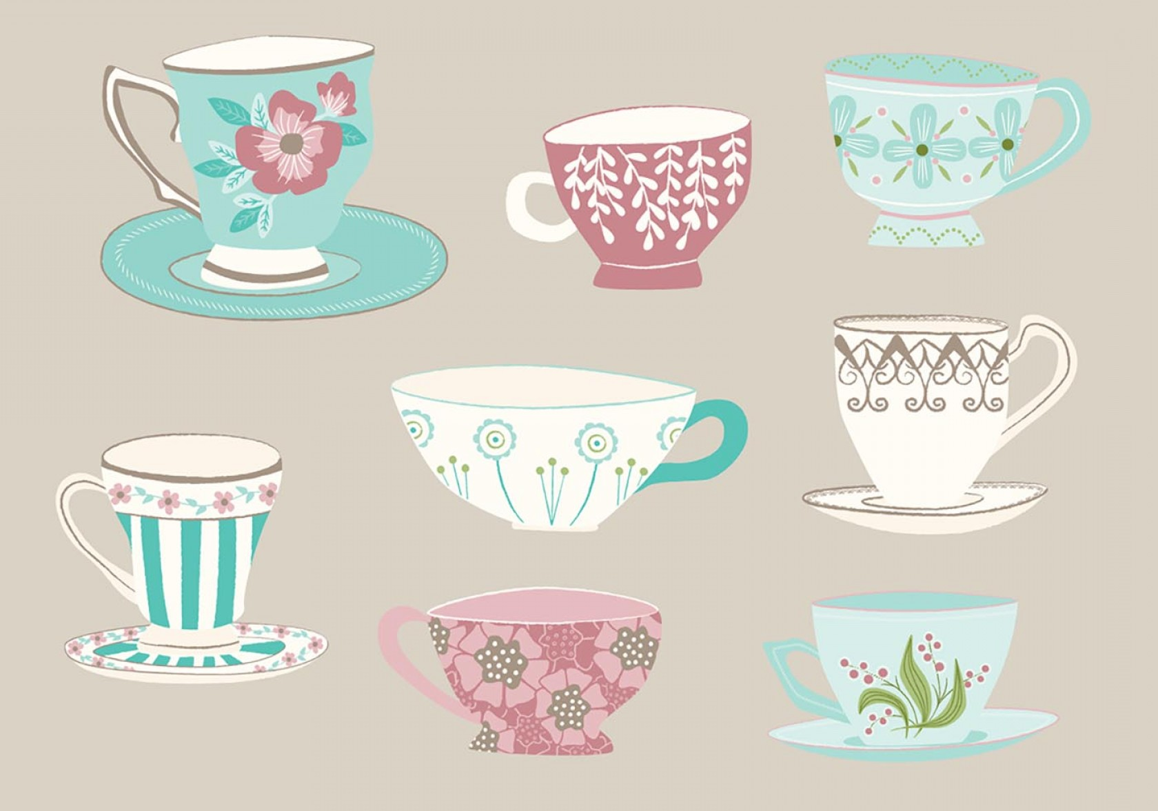 Tea Set Vector: Hand Drawn Tea Cup Vectors