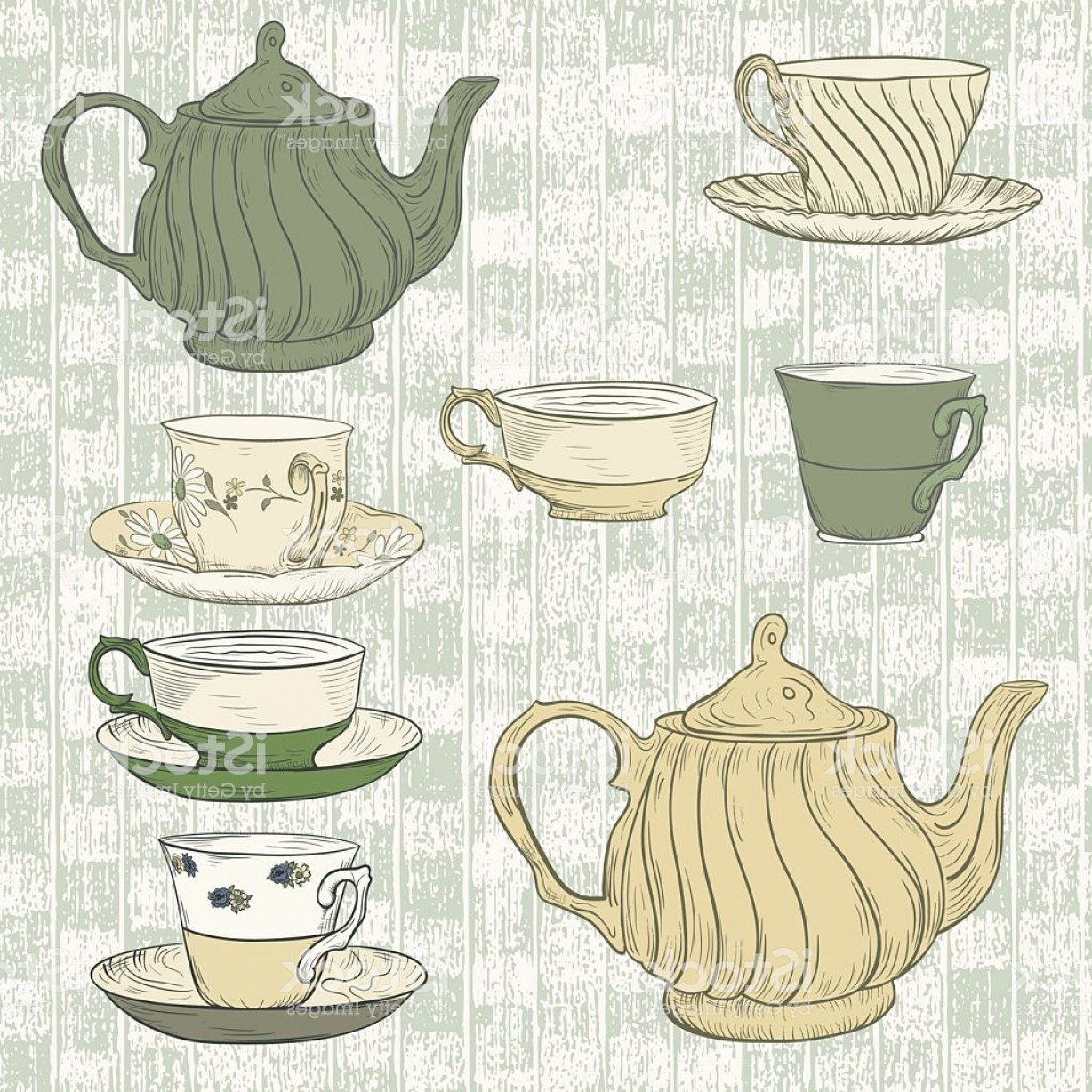 Tea Set Vector: Hand Drawn Tea Set Gm