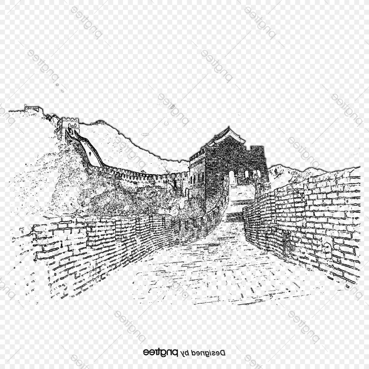 Starbucks China Vector: Hand Drawn Vector Corner Of Great Wall Of China