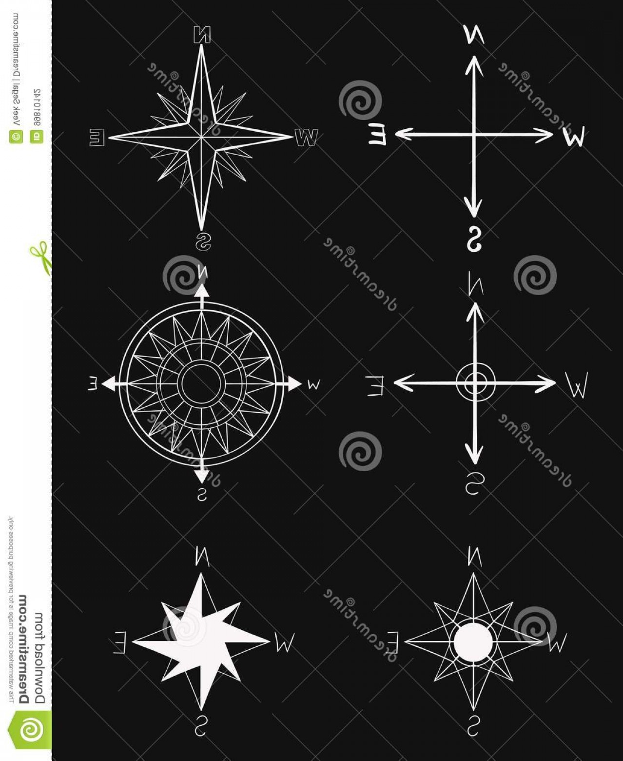 Measurement And Direction Vector: Hand Drawn Vector Elements Vintage Wind Rose Symbols Old Fashioned Nautical Patterns White Option Hand Drawn Vector Elements Image