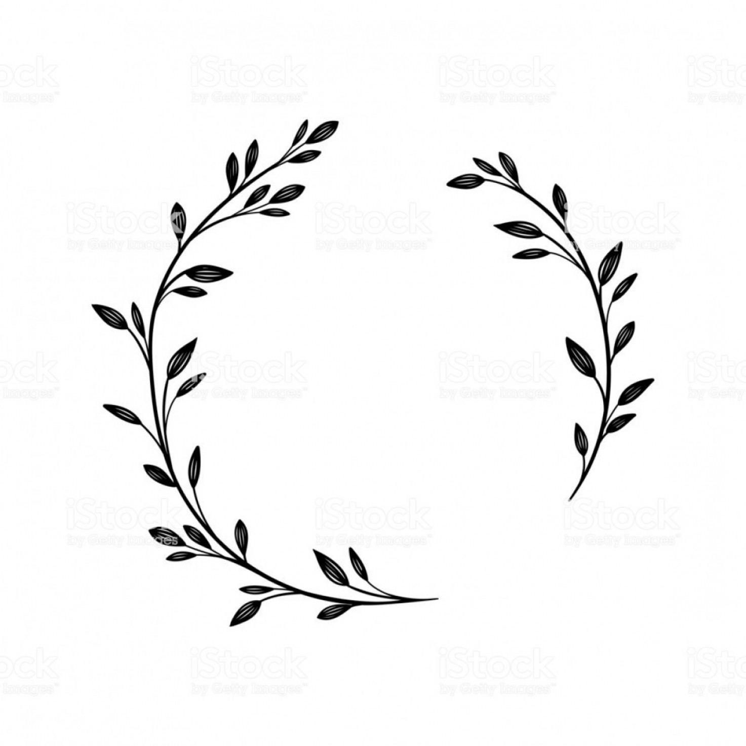 Hand Drawn Laurel Vector: Hand Drawn Vector Frame Floral Wreath For Your Text Decorative Elements For Design Gm