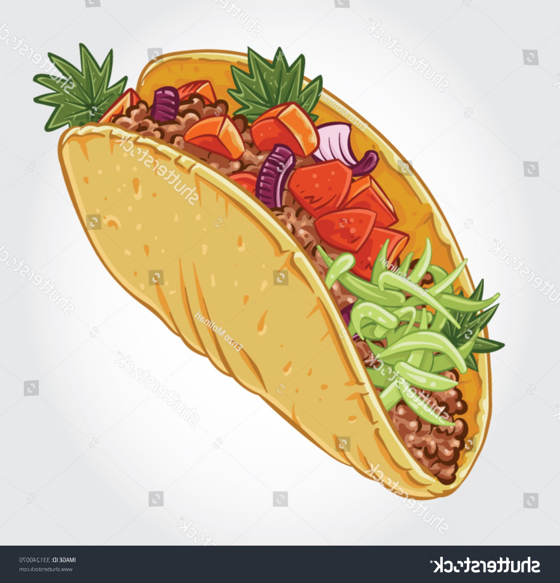 Steak Taco Vector Art: Hand Drawn Vector Illustration Ground Beef