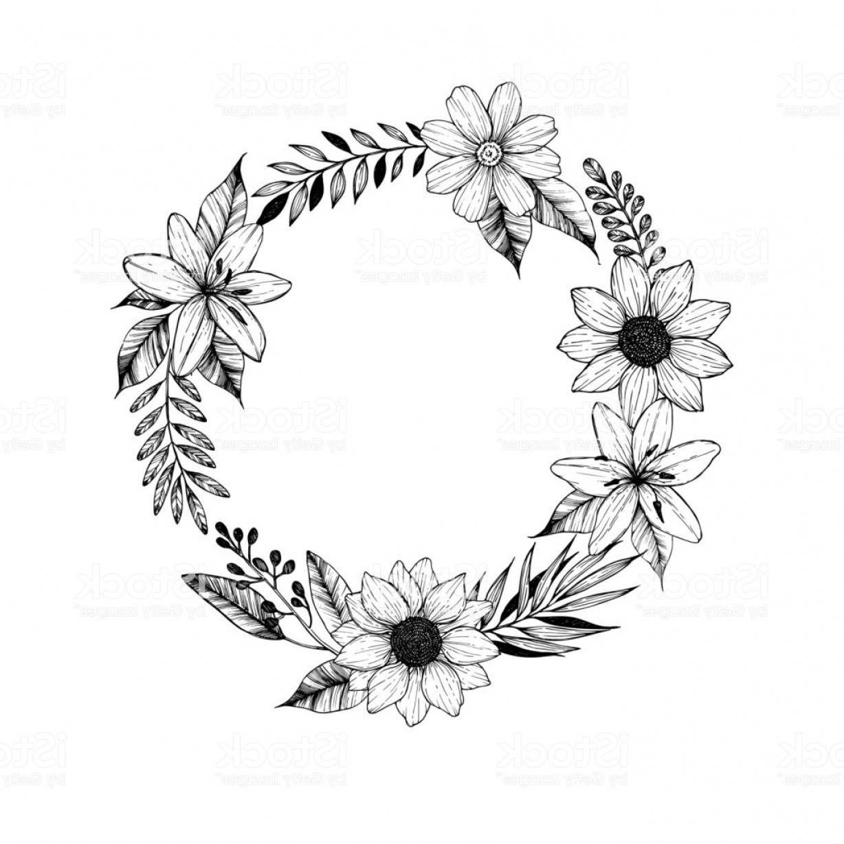Vector Flower Wreaths In Black: Hand Drawn Vector Illustration Laurel Wreath With Black Flowers Leaves And Branches Gm