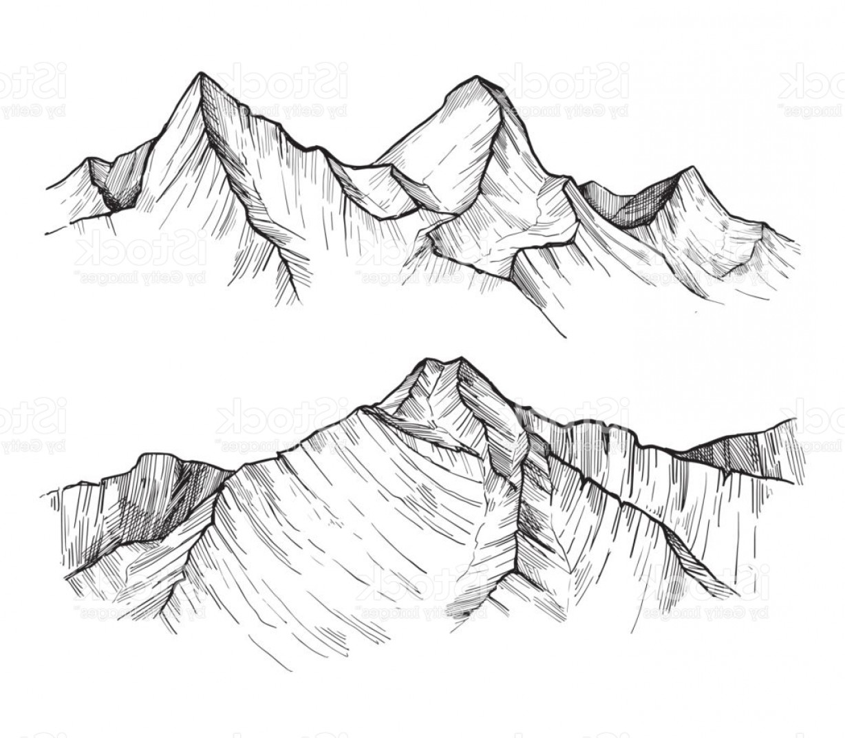 Rocky Mountain Line Art Vector: Hand Drawn Vector Illustration Mountain Peaks Outdoor Camping Background In Sketch Gm