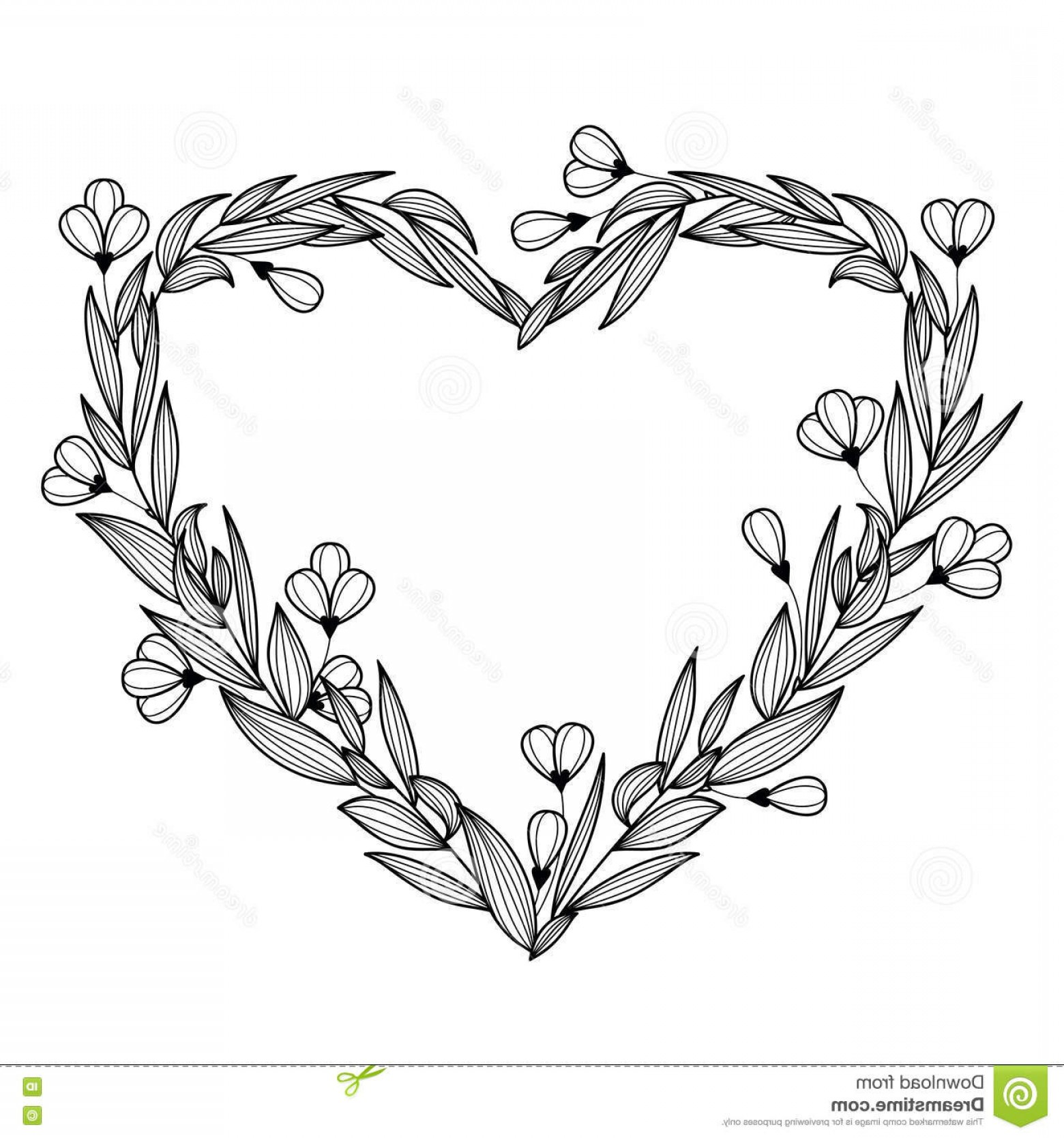 Rustic Heart Vectors: Hand Drawn Vintage Floral Wreath In The Shape Of Heart Vector I Illustration