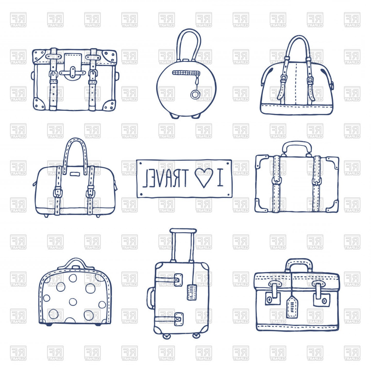 Vintage Luggage Vector: Hand Drawn Vintage Suitcases And Bags Vector Clipart