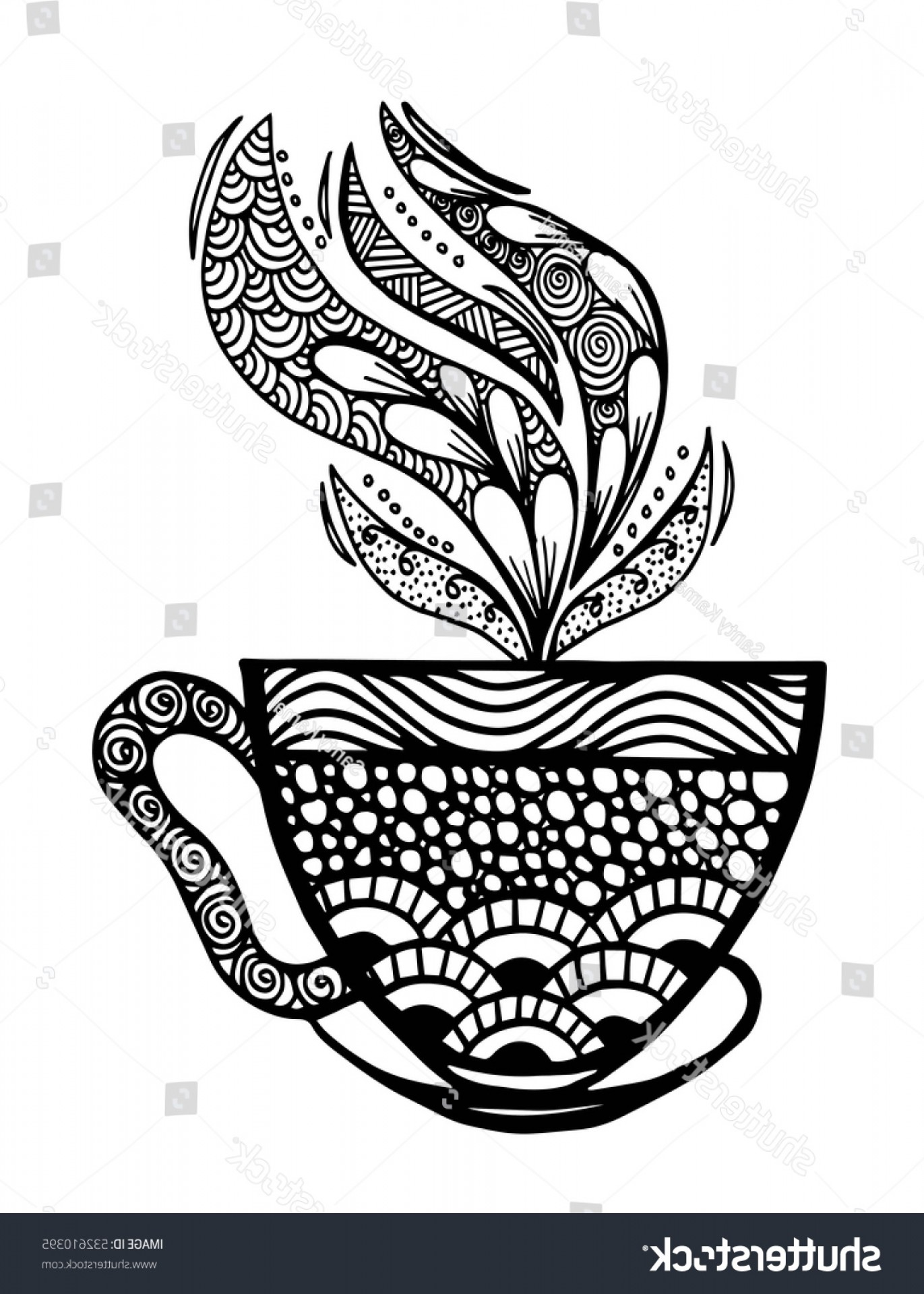 Vintage Tea Cup Vector: Hand Drawn Vintage Tea Cup Icon