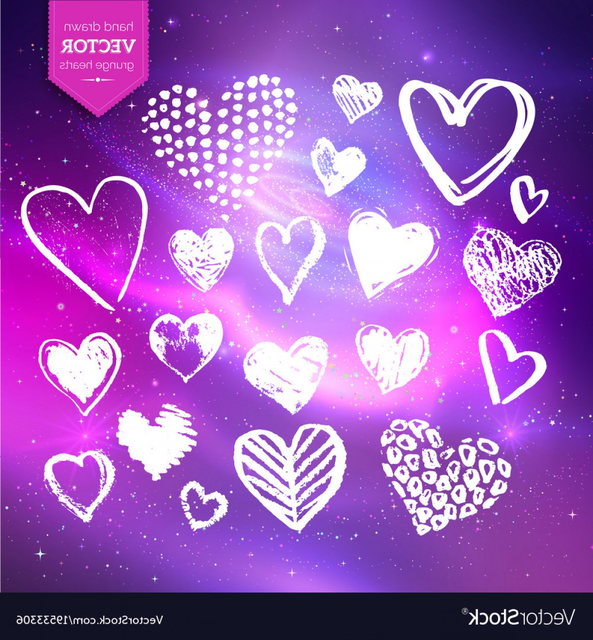 Infinity Grunge Heart Vector: Hand Drawn White Grunge Hearts Vector