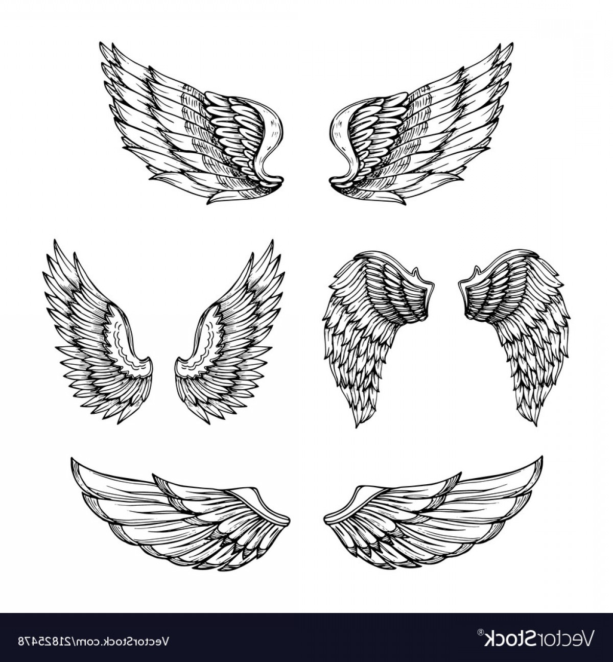 Angel Wings Tattoo Tribal Vector: Hand Drawn Wing Sketch Angel Wings With Feathers Vector