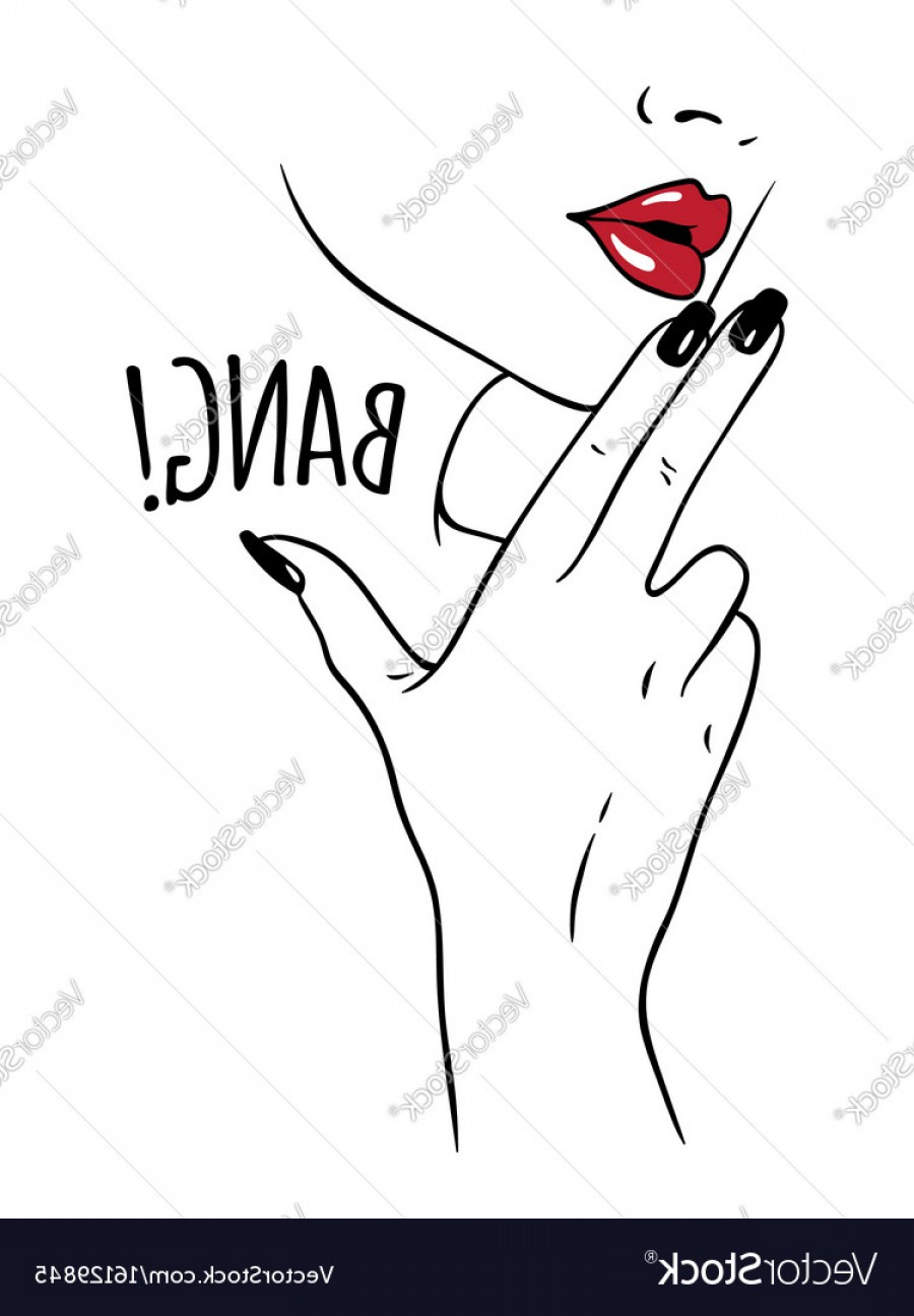 Finger Gun To Head Vector: Hand Drawn Woman Holding Fingers In Gun Gesture Vector