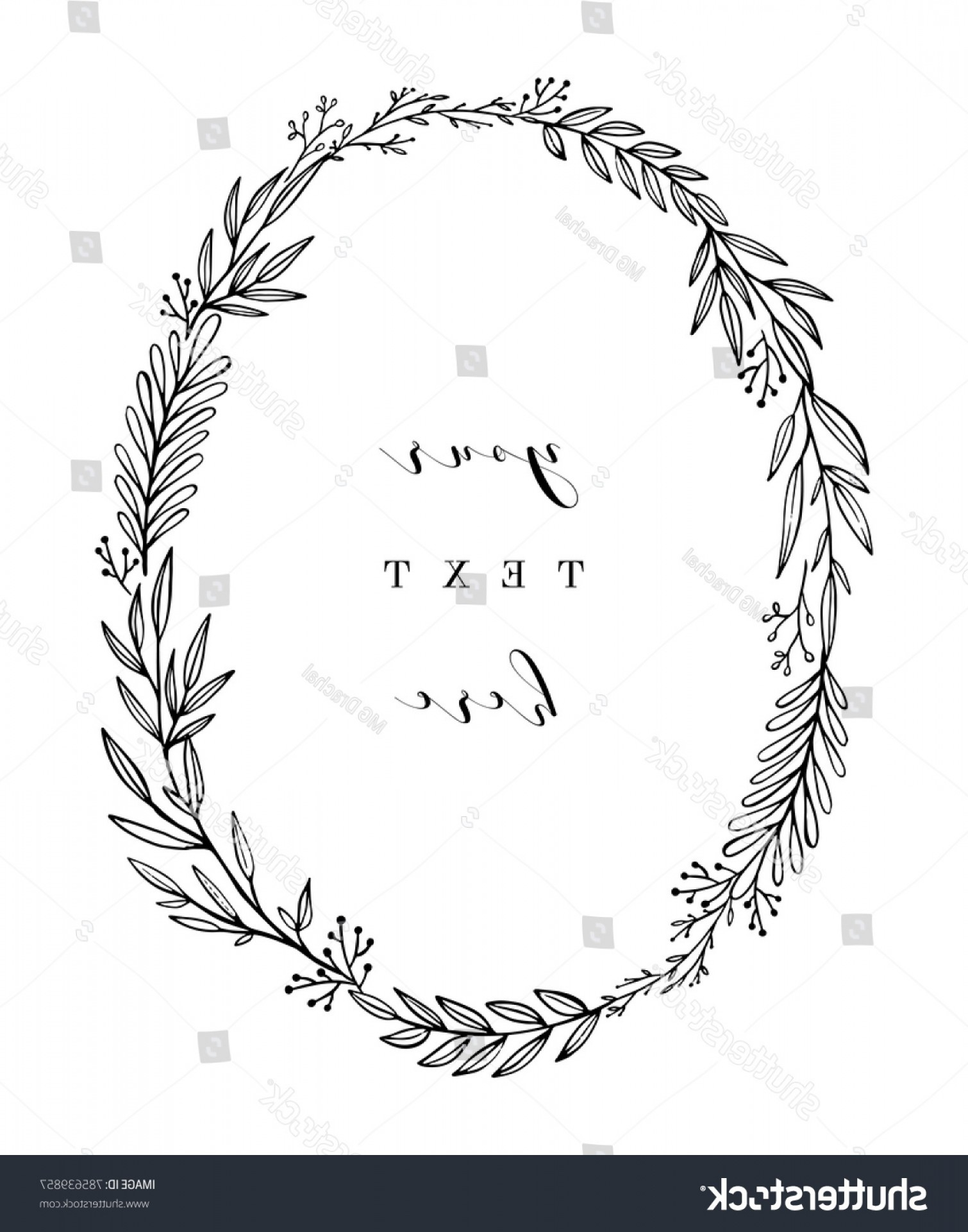 Floral Laurel Wreath Vector: Hand Drawn Wreath Vector Floral Design