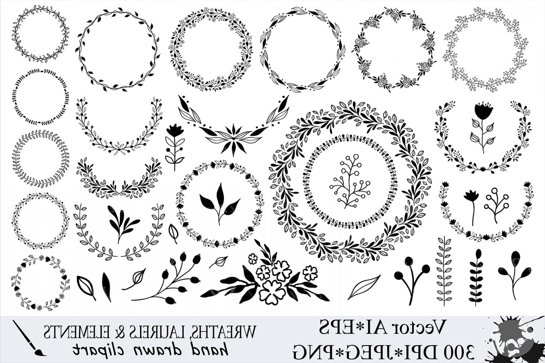 Hand Drawn Laurel Vector: Hand Drawn Wreaths And Elements Clipart