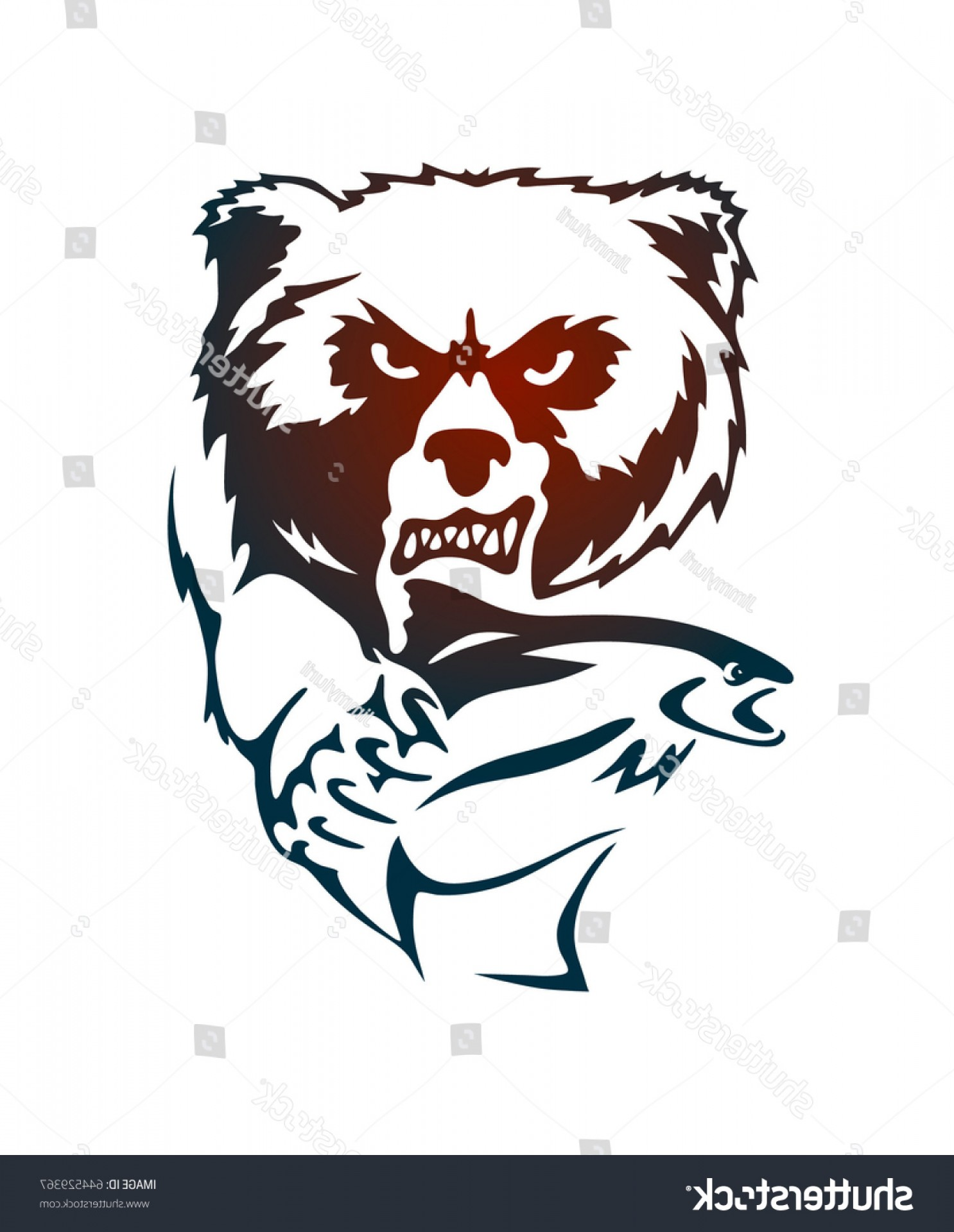 Vector Art Bear With Salmon: Hand Drown Bear Salmon Vector Isolated