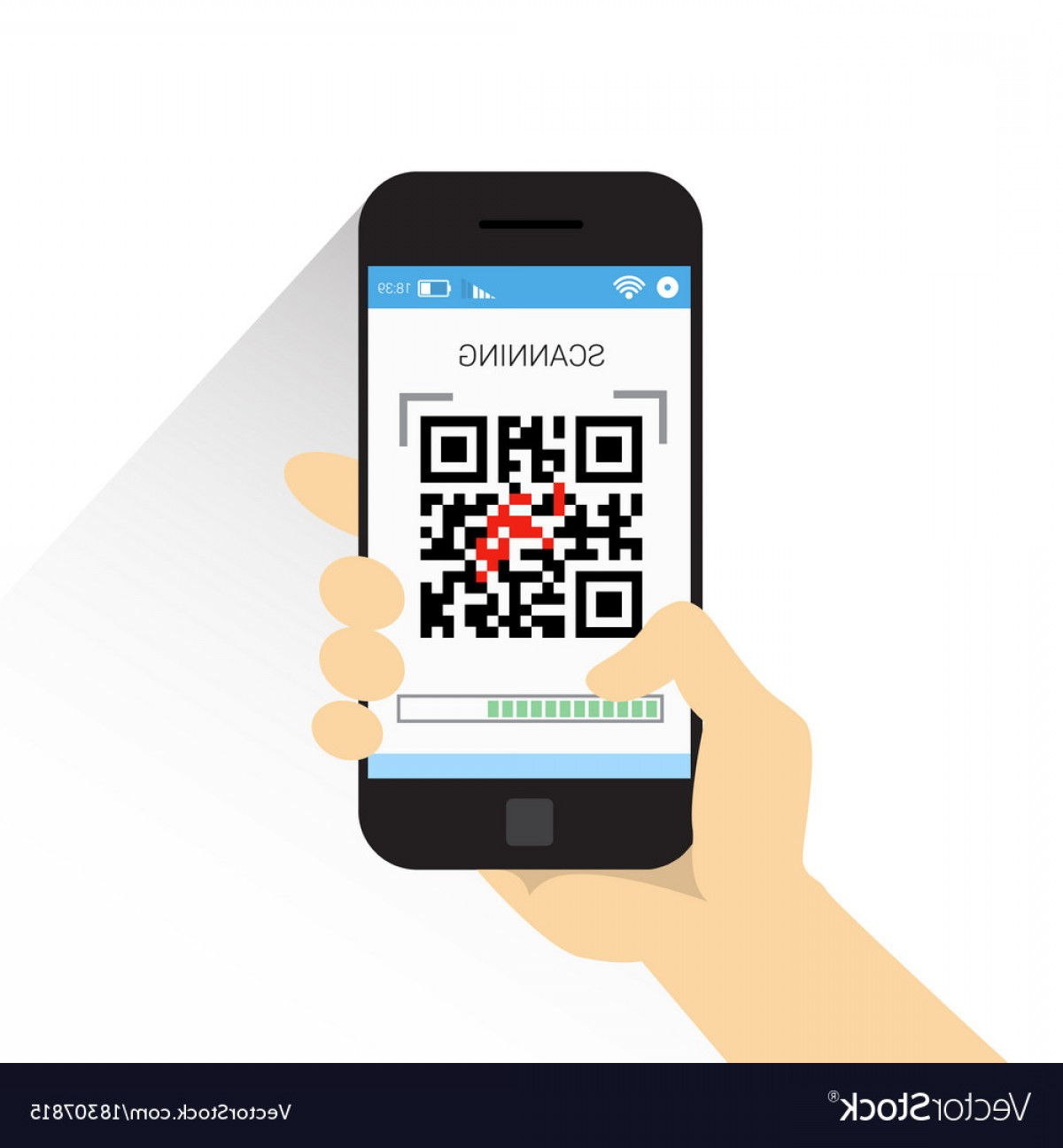 QR Mobile Phone Vector: Hand Hold Smart Phone Scanning Qr Code Icon Vector
