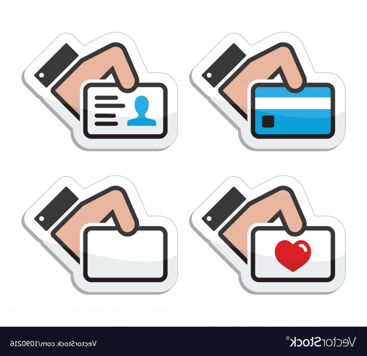 Credit Card Logos Vector: Hand Holding Credit Card Business Card Id Icons Vector