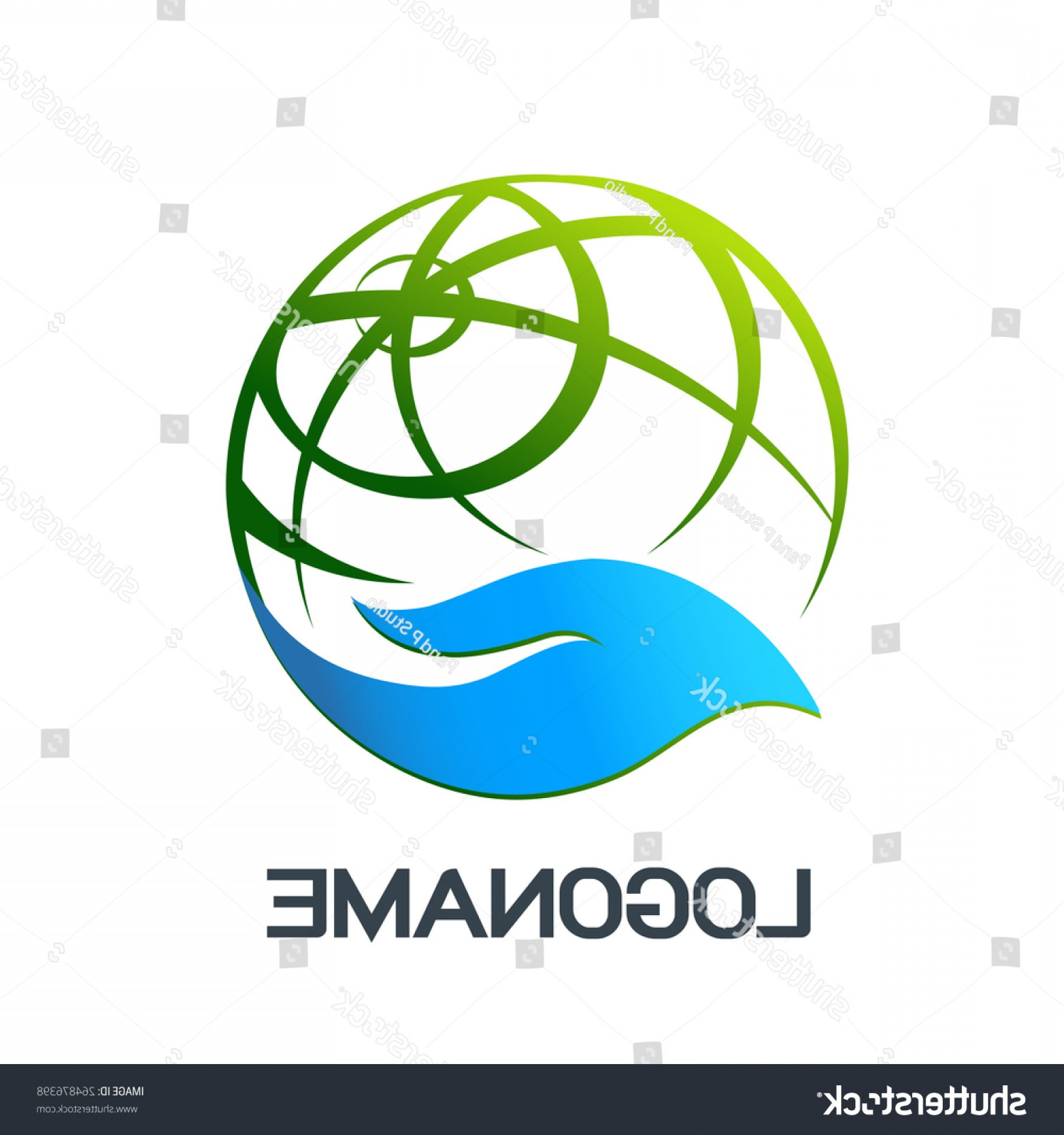 Vector Health Systems Inc: Hand Holding Globe Abstract Vector Logo