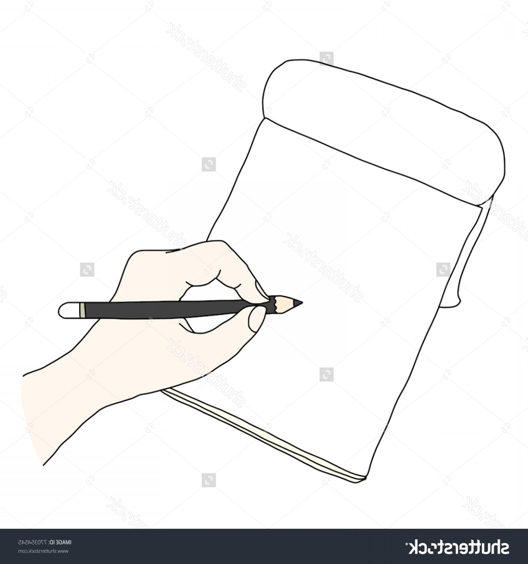 Notepad Writing Hand Vector: Hand Holding Pencil Writing Down On