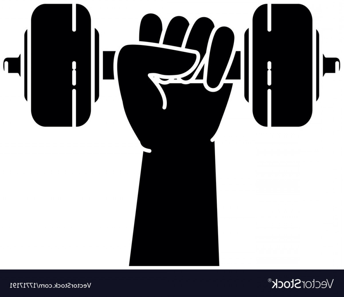 Vector Weight Lifting: Hand Human With Weight Lifting Isolated Icon Vector