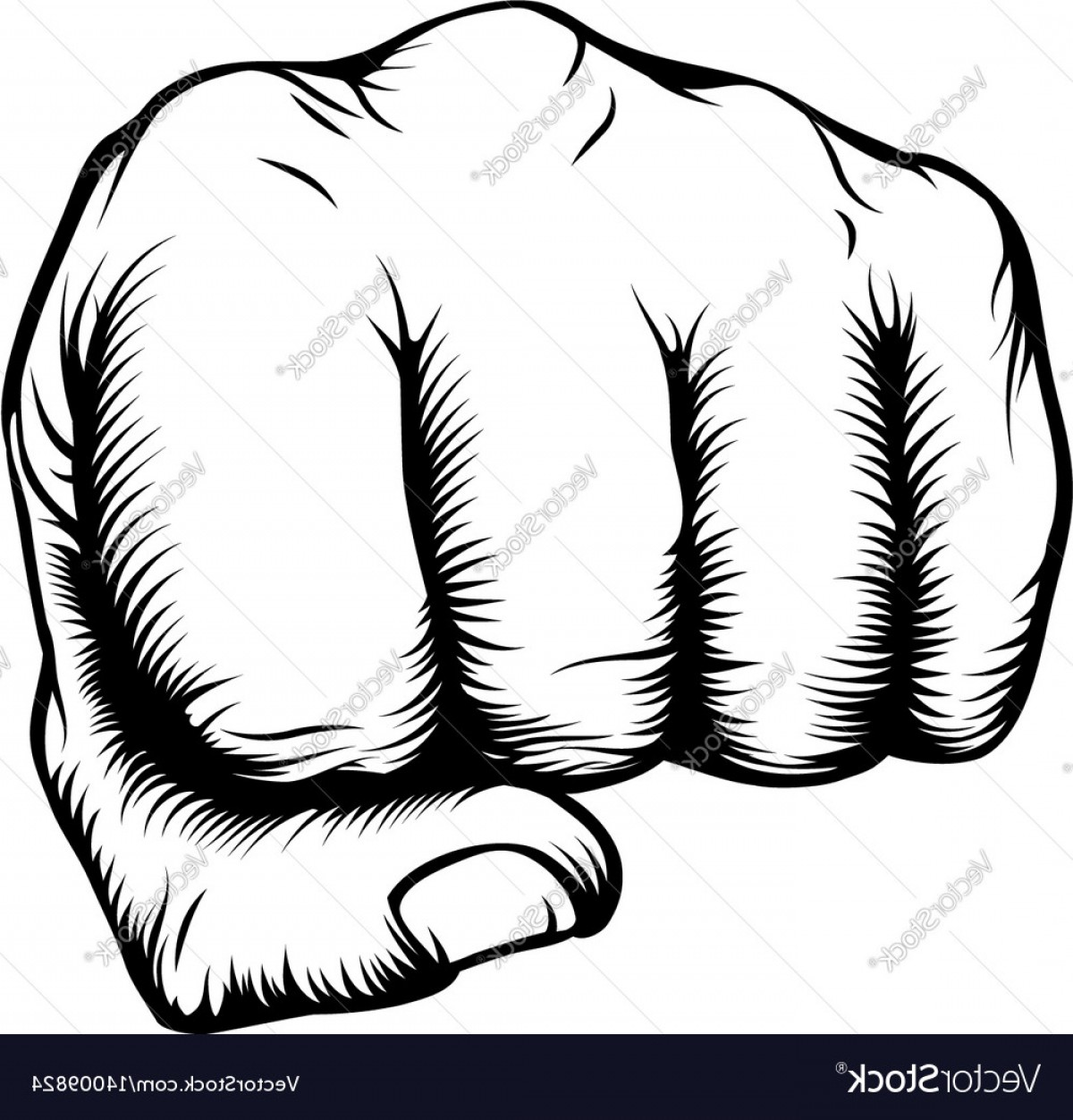 Hand Fist Vector: Hand In Fist Punching From Front Vector
